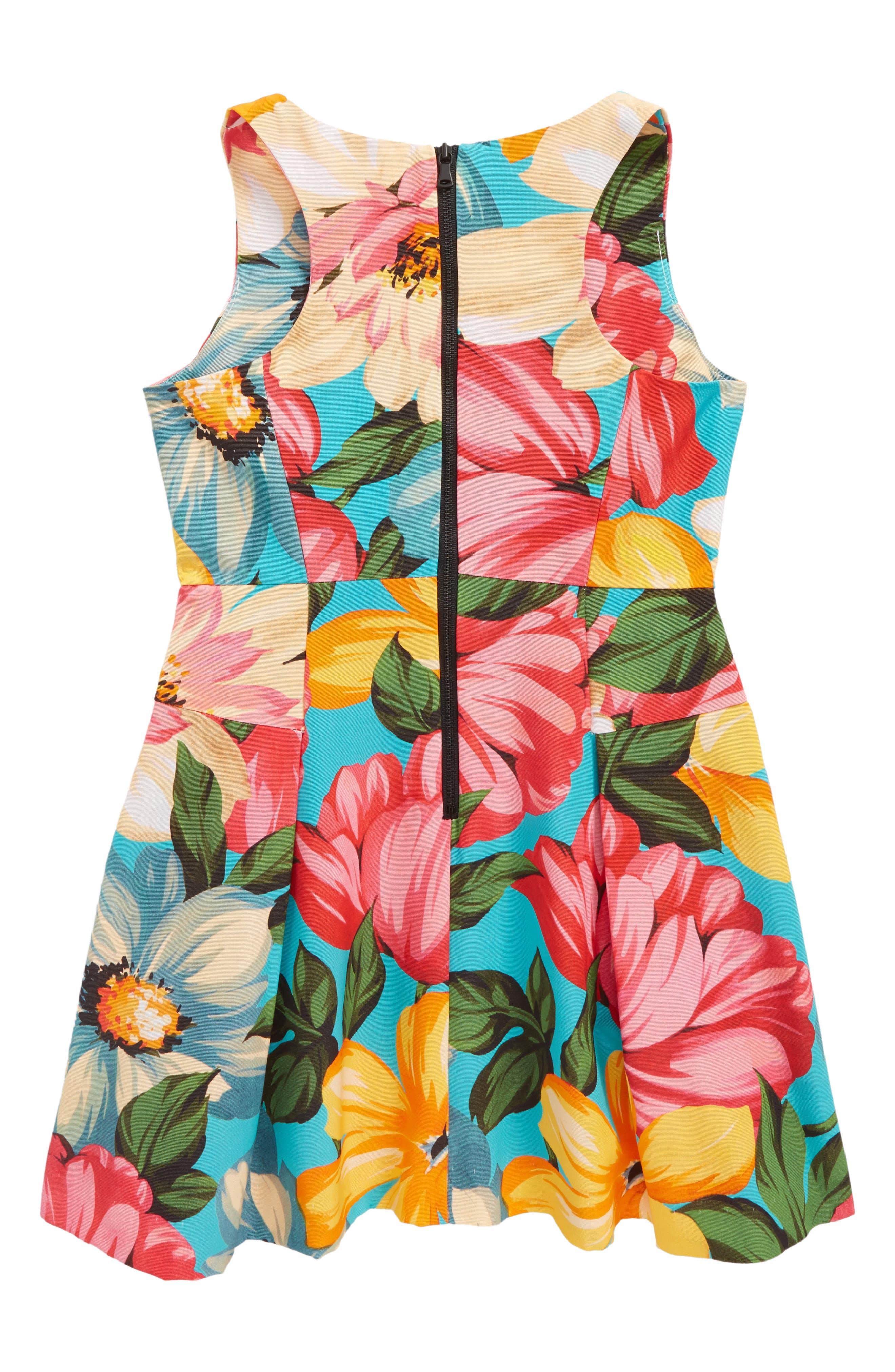 Racerback Fit & Flare Dress,                             Alternate thumbnail 2, color,                             Cerulean