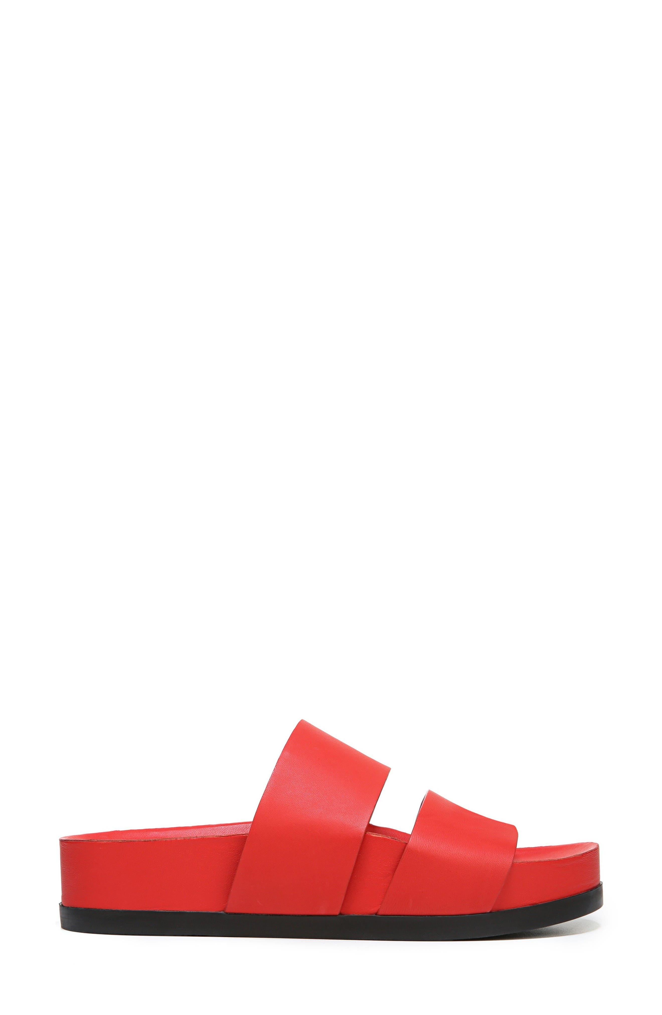 Milton Slide Sandal,                             Alternate thumbnail 3, color,                             Poppy Red Leather