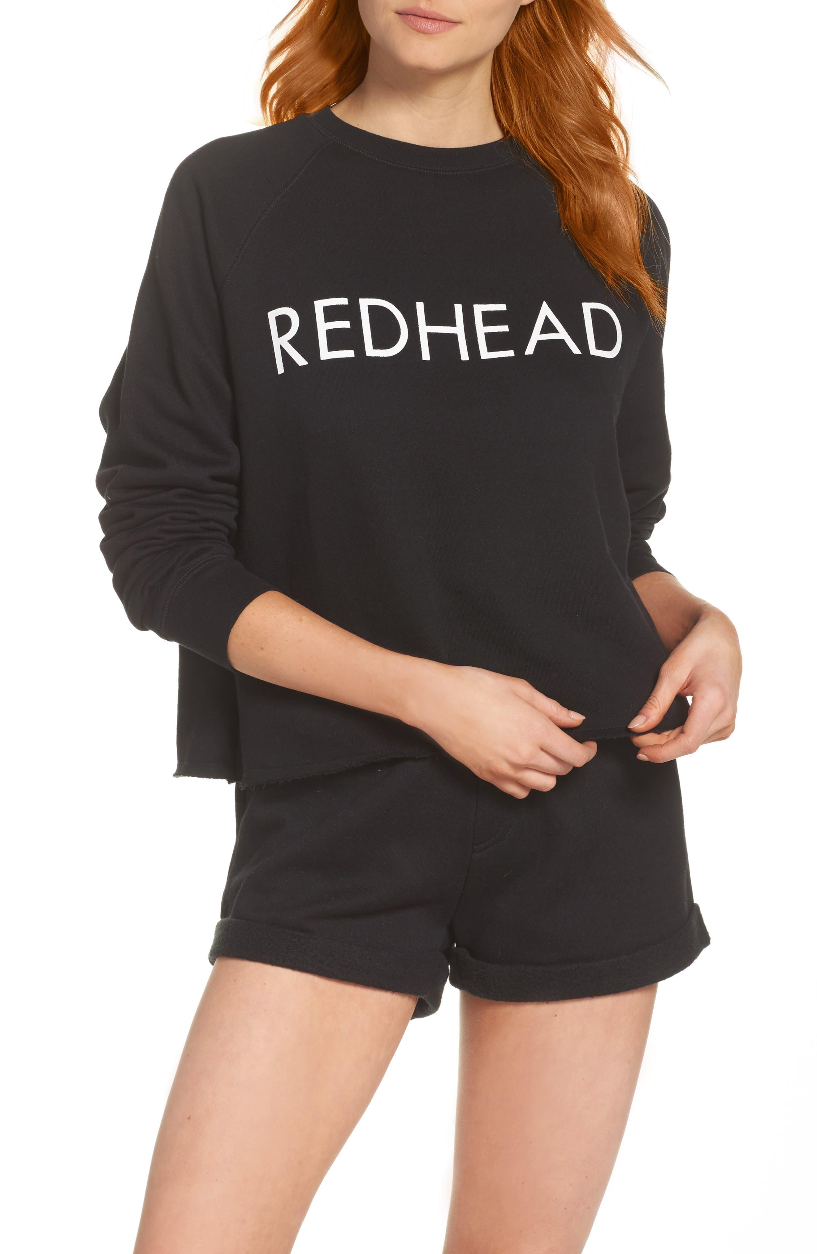 Redhead Raw Hem Sweatshirt,                             Alternate thumbnail 5, color,                             Black