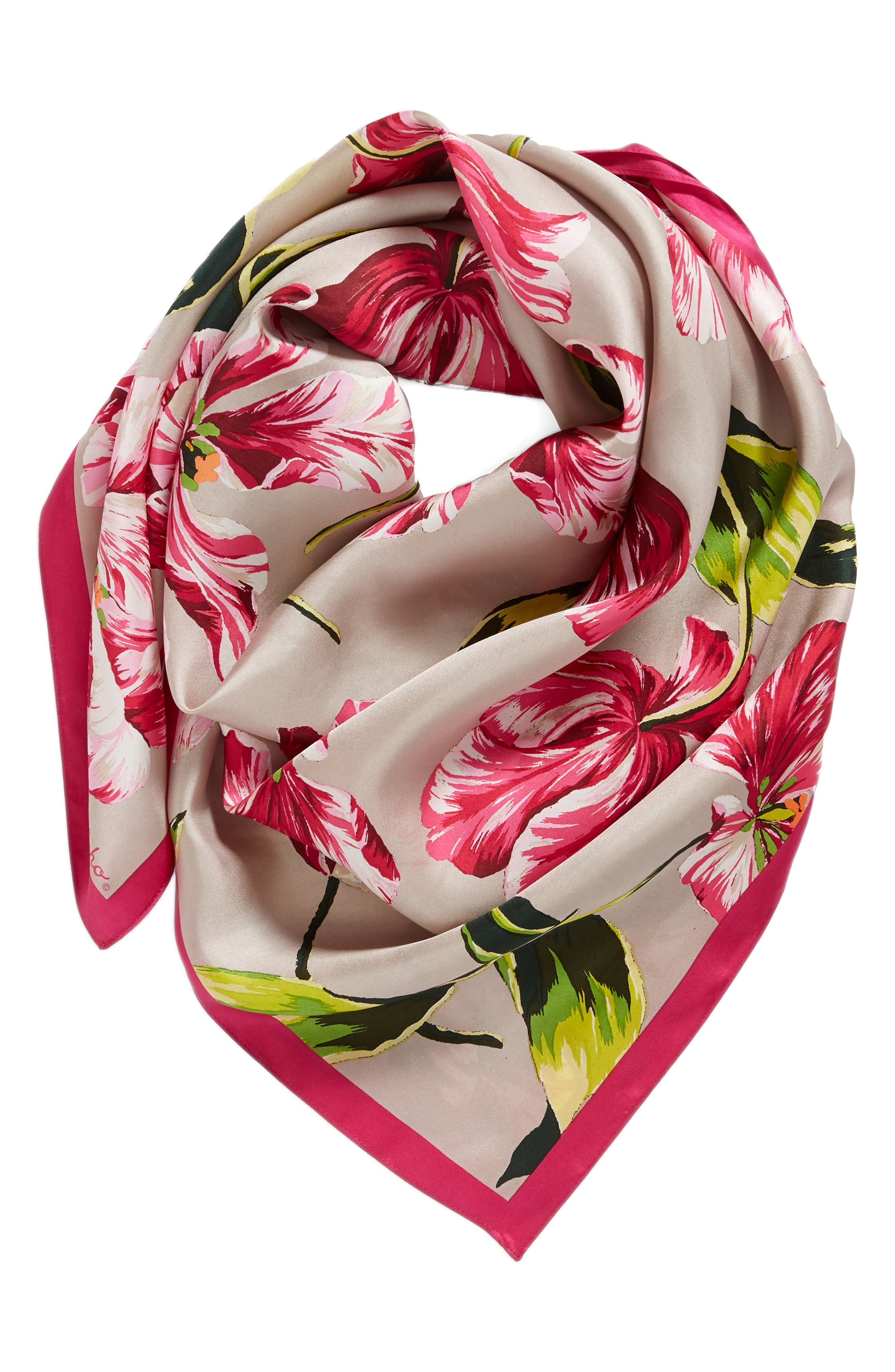 Buckingham Tulips Silk Square Scarf,                             Alternate thumbnail 2, color,                             Mink