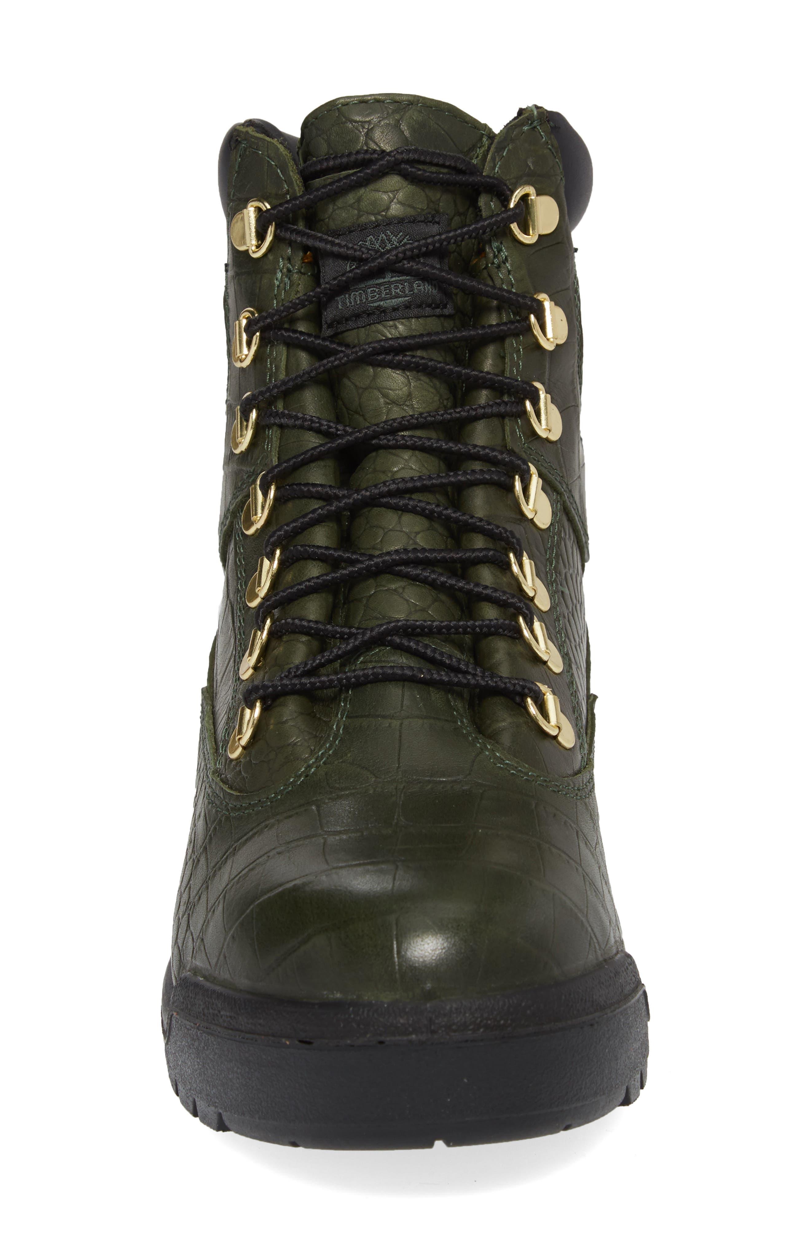 Field Waterproof Boot,                             Alternate thumbnail 4, color,                             Green/ Cardinal Exotic