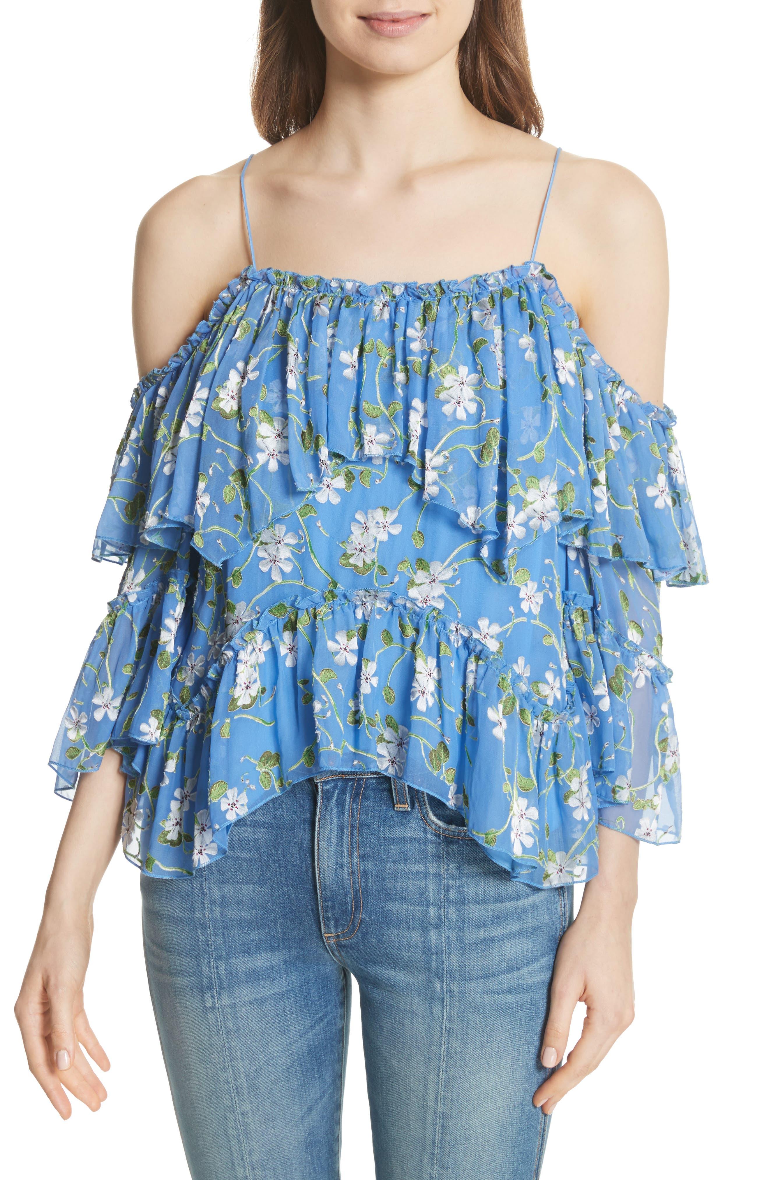 Tia Ruffle Floral Print Blouse,                         Main,                         color, Spring Primrose-Cerulean