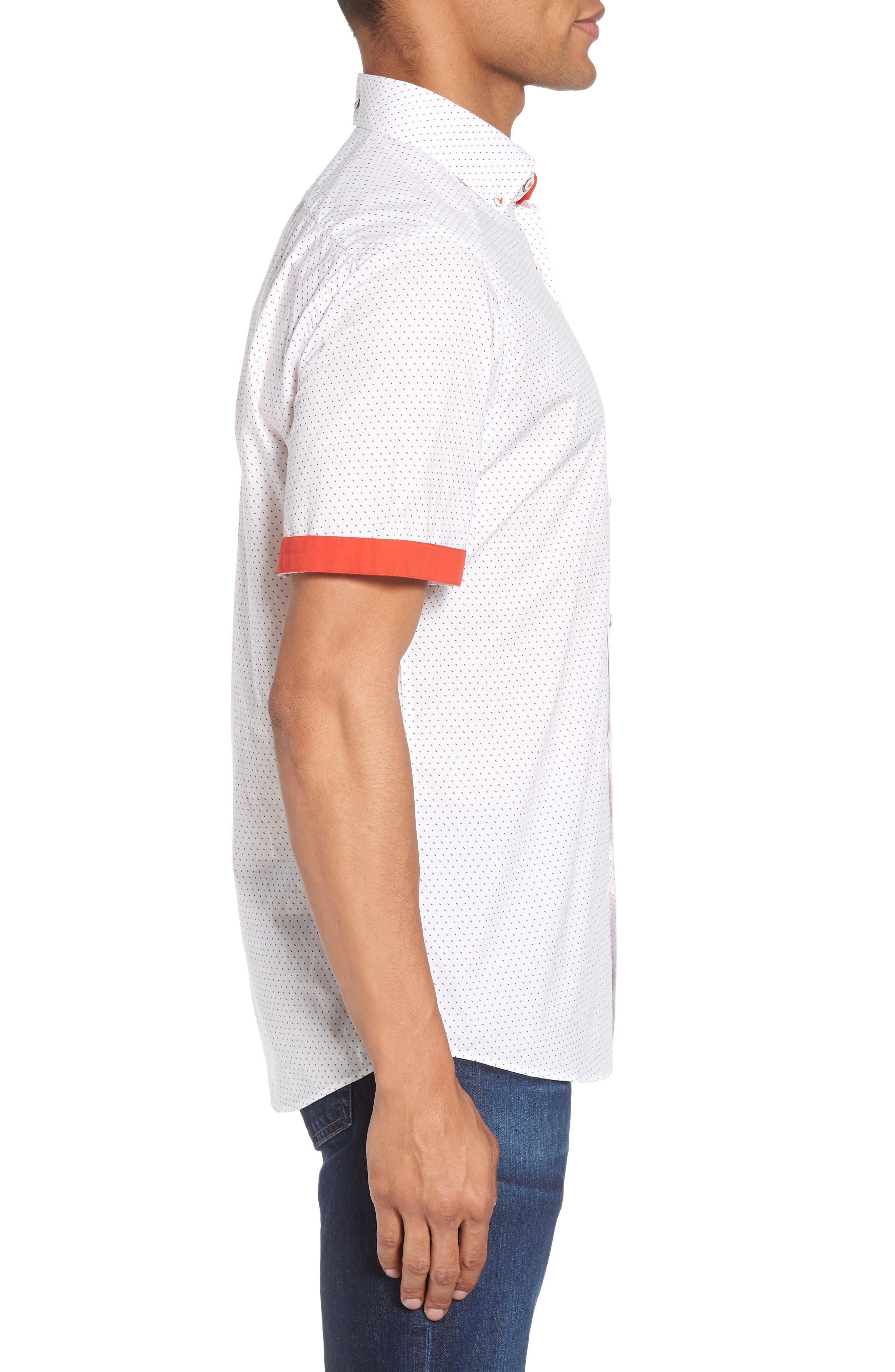 Dot Print Shirt,                             Alternate thumbnail 4, color,                             Canvas / Red Coral