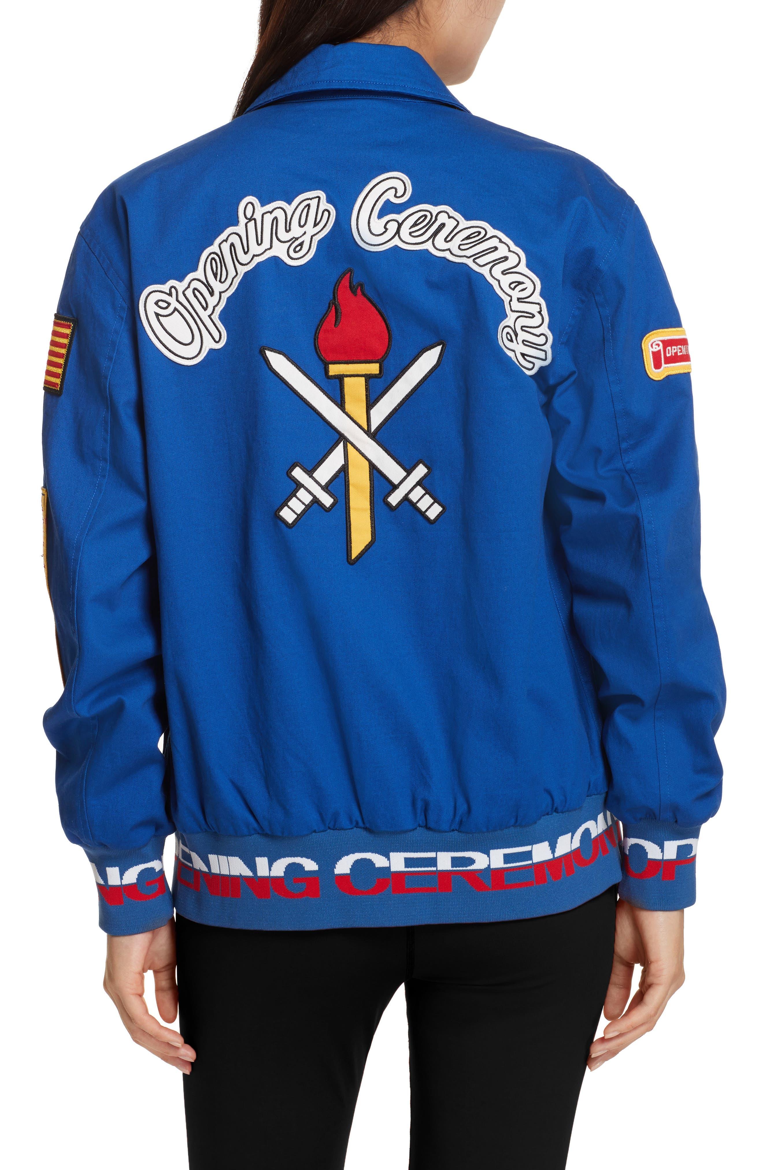 Patch Varsity Jacket,                             Alternate thumbnail 3, color,                             Railroad Blue