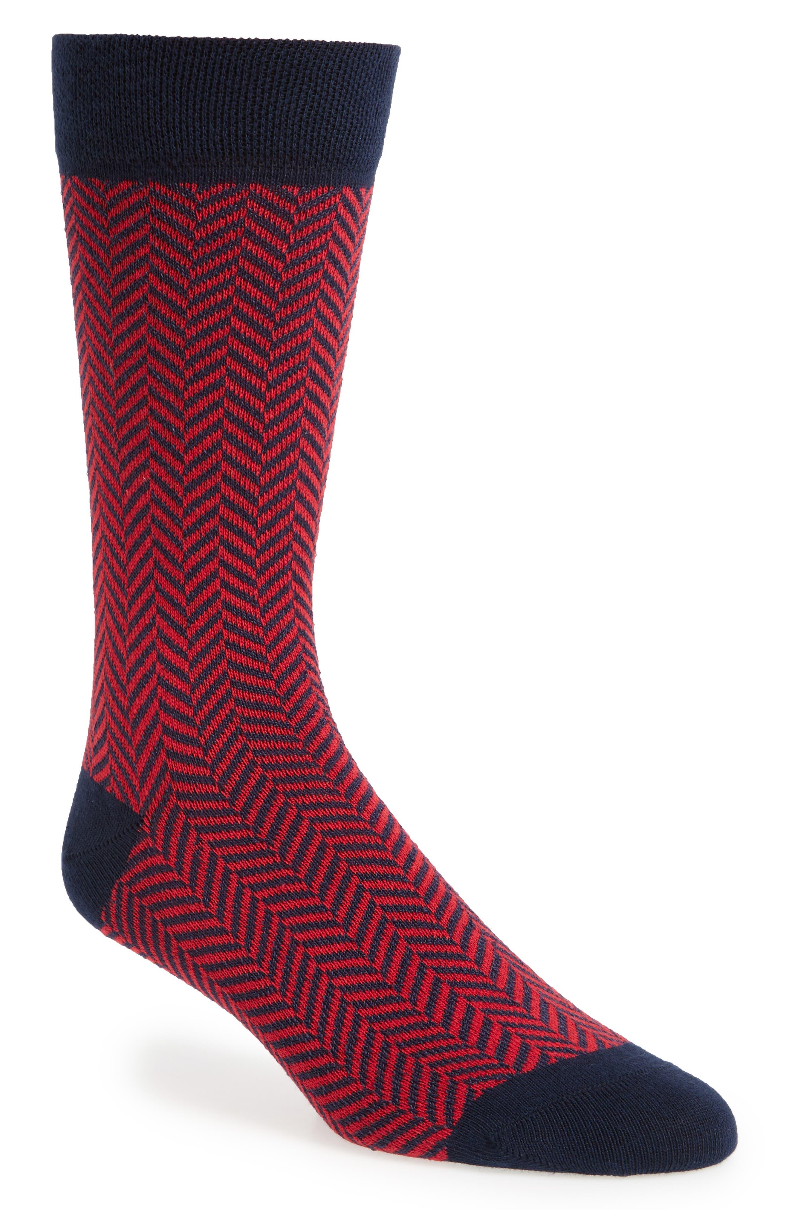 Ronimow Herringbone Socks,                             Main thumbnail 1, color,                             Red