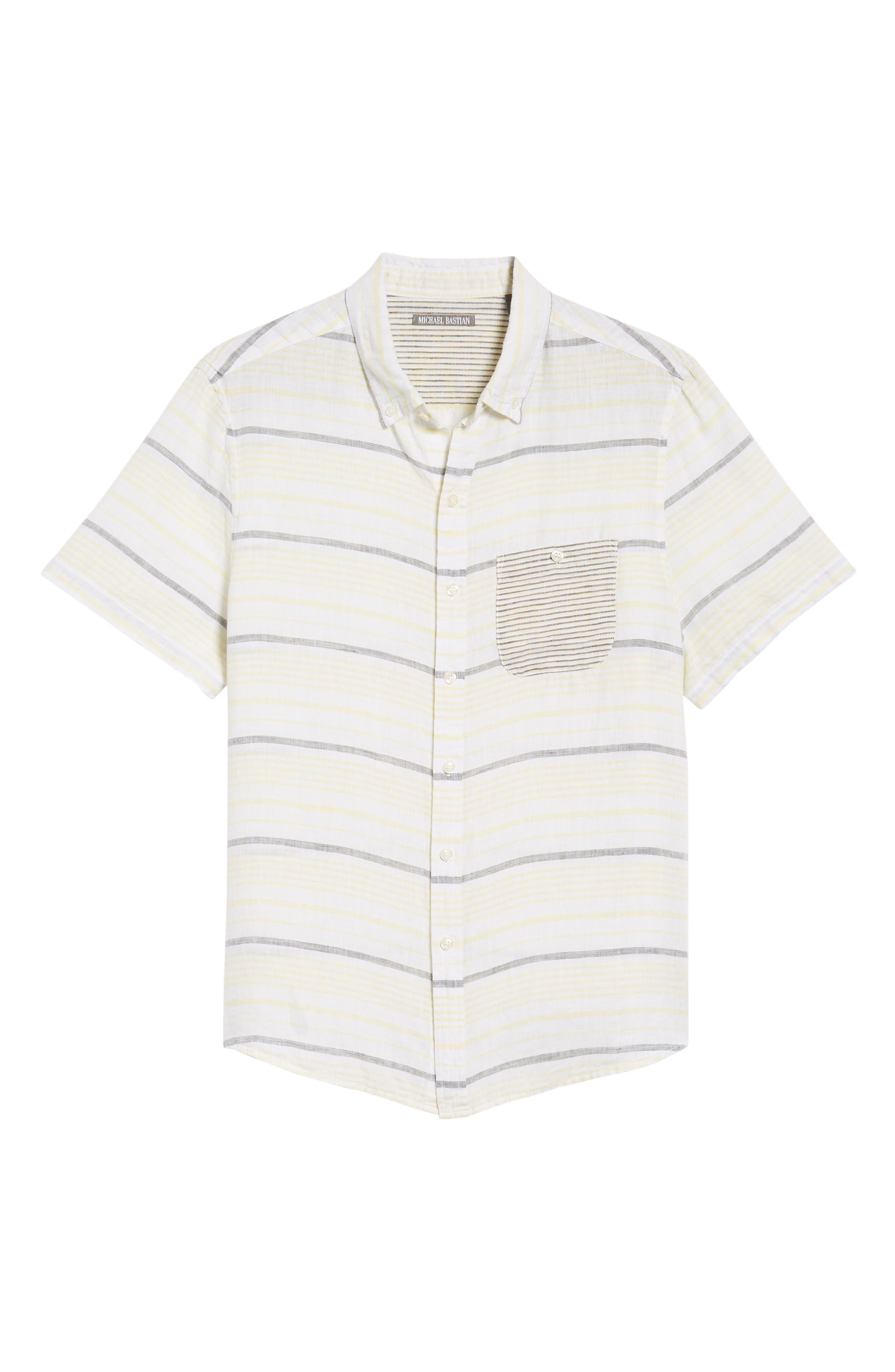 Stripe Linen Sport Shirt,                             Alternate thumbnail 6, color,                             Pale Lemon