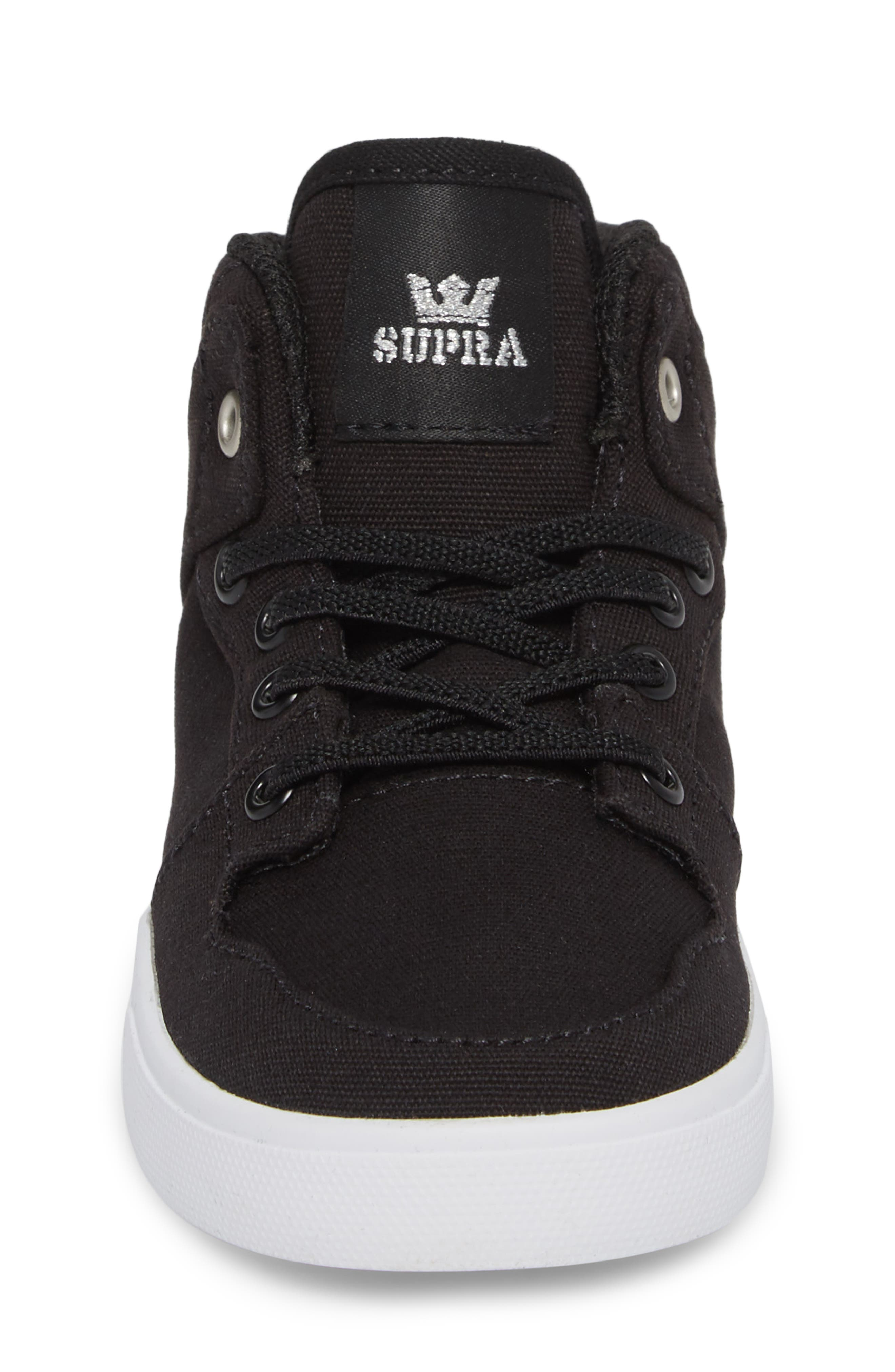 'Vaider' High Top Sneaker,                             Alternate thumbnail 4, color,                             Black/ White