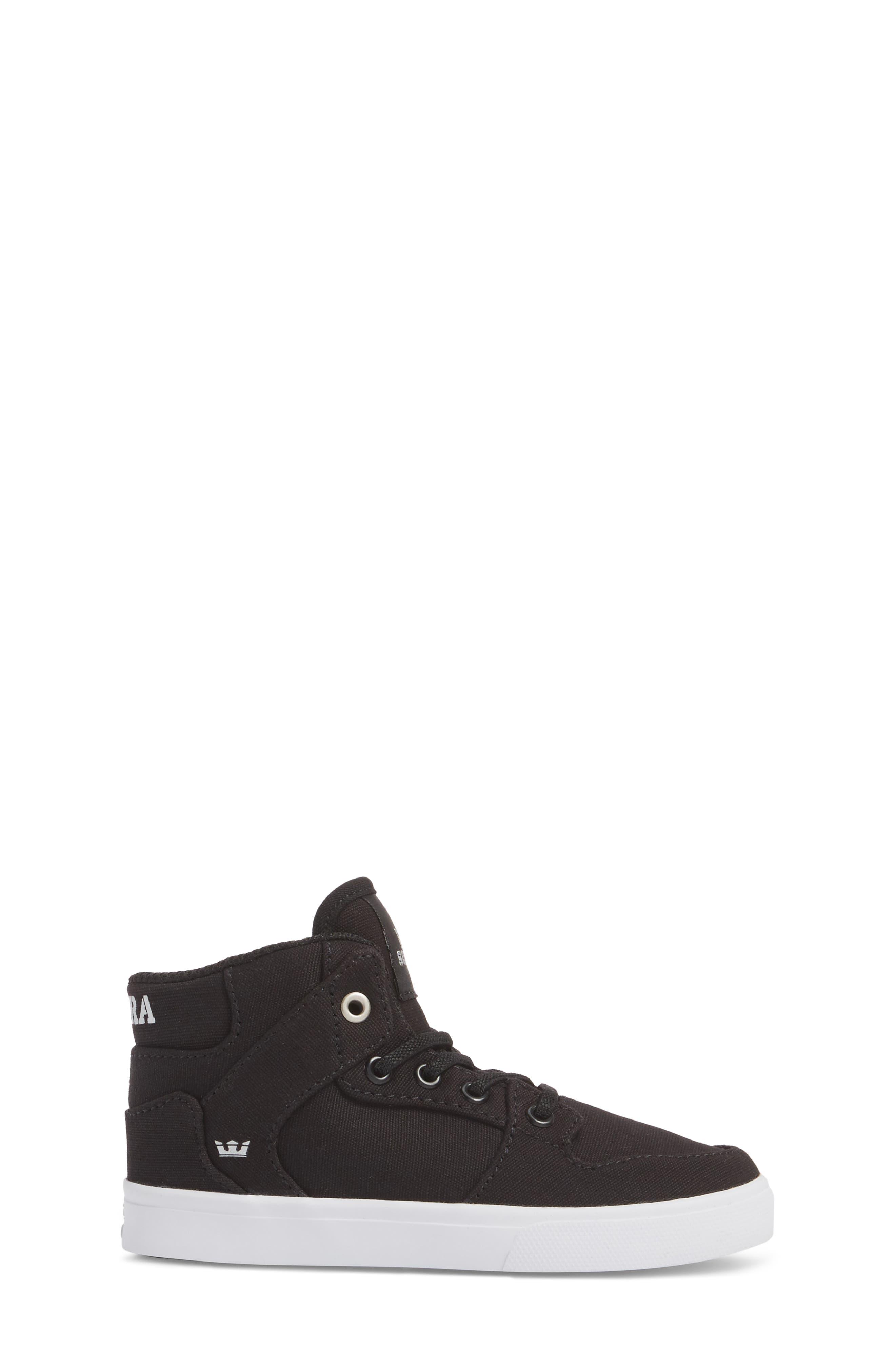 'Vaider' High Top Sneaker,                             Alternate thumbnail 3, color,                             Black/ White