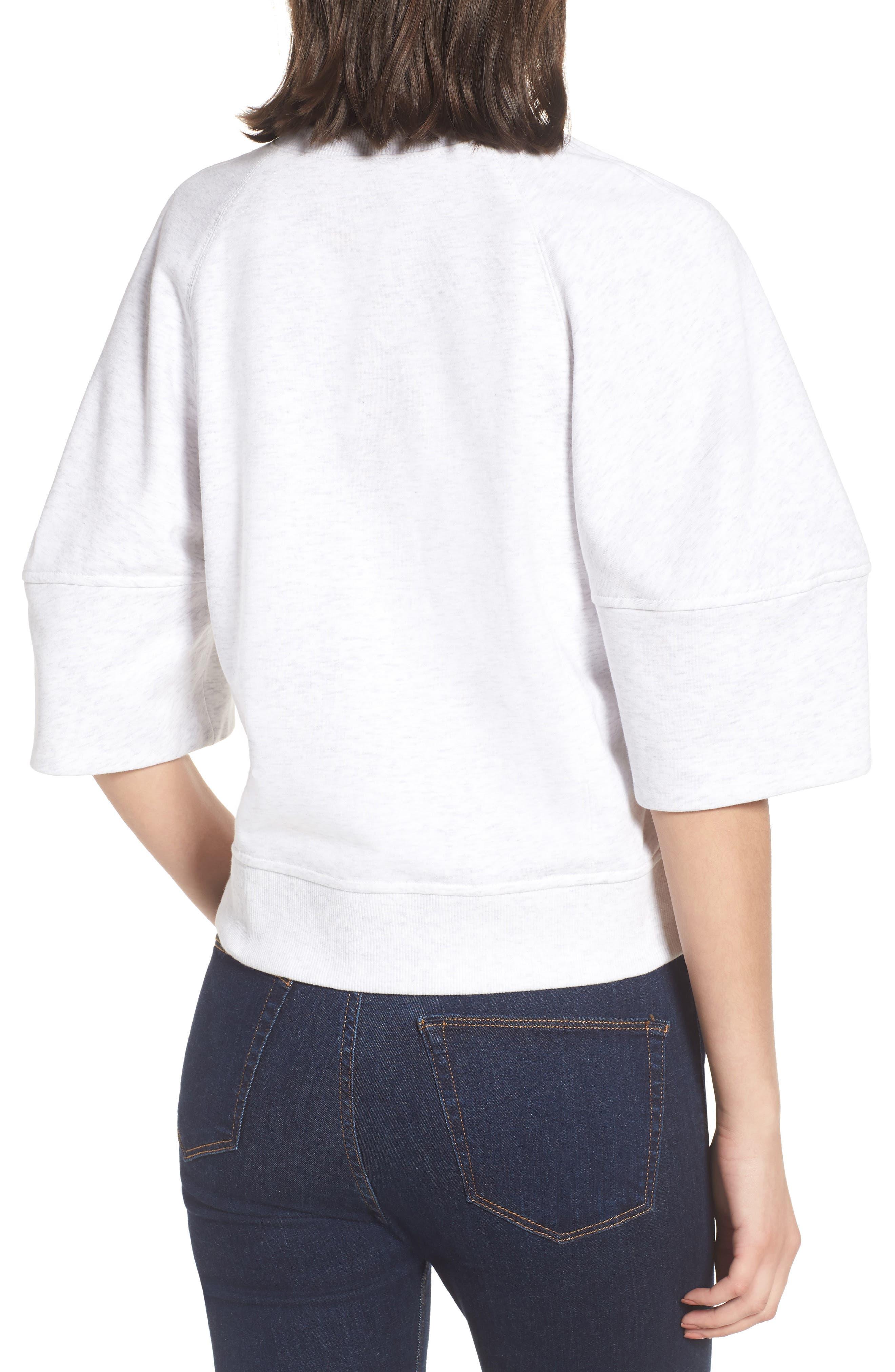 Puff Sleeve Sweatshirt,                             Alternate thumbnail 2, color,                             Heather Grey