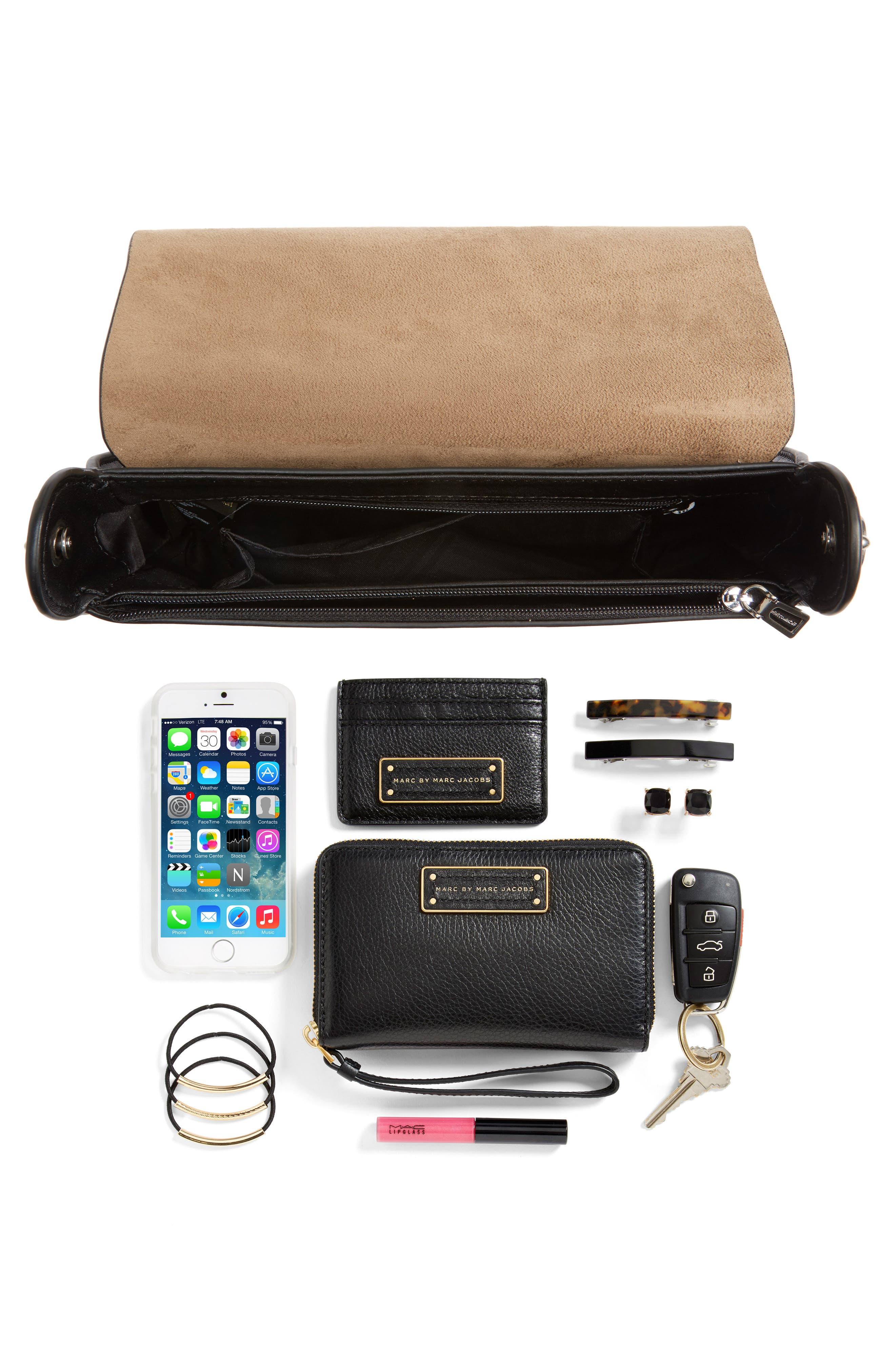 Ring Leather Shoulder Bag,                             Alternate thumbnail 7, color,