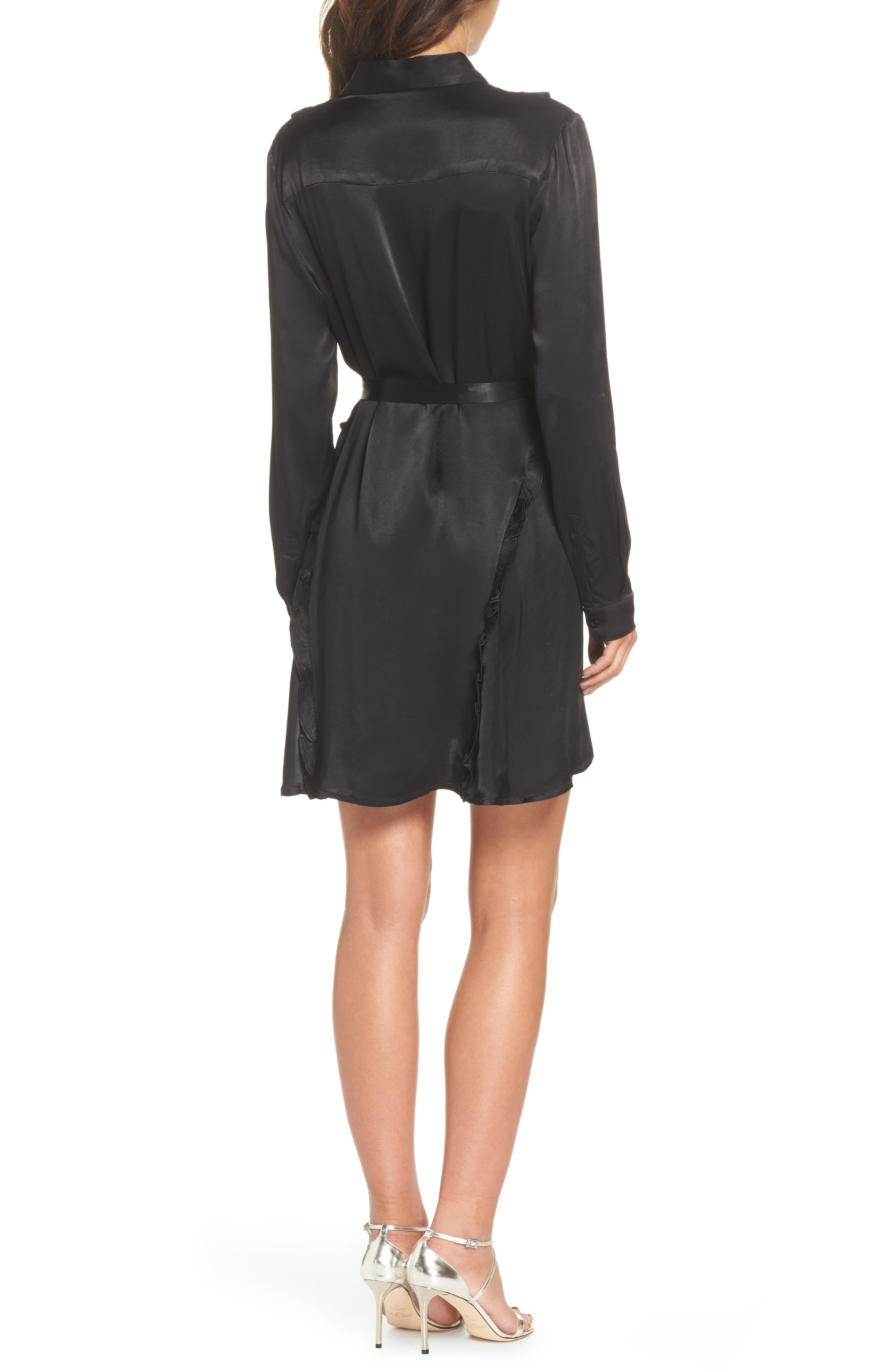 Cassia Ruffle Trim Shirtdress,                             Alternate thumbnail 2, color,                             Black