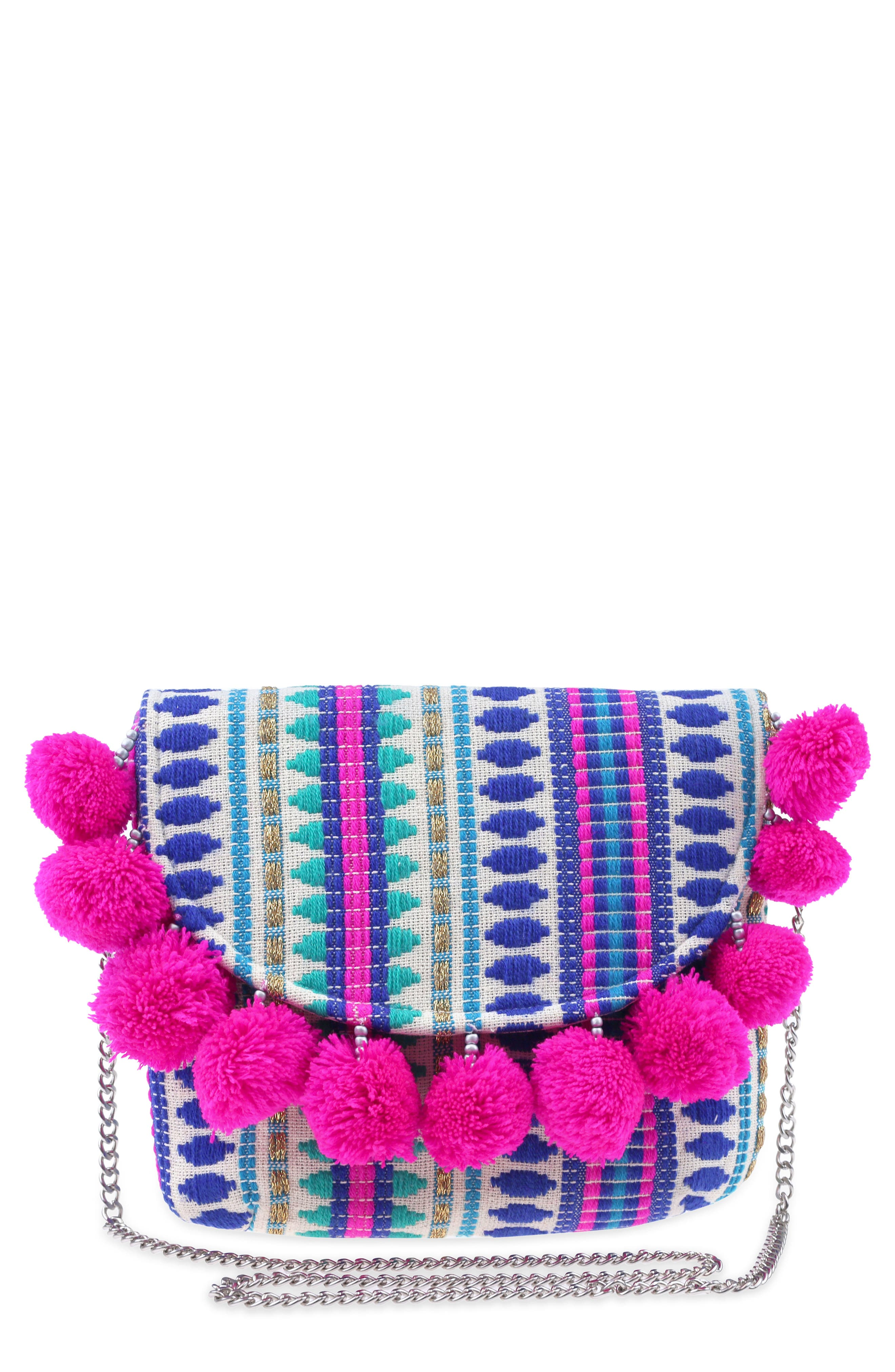Embroidered Crossbody Bag,                         Main,                         color, Turquoise Combo