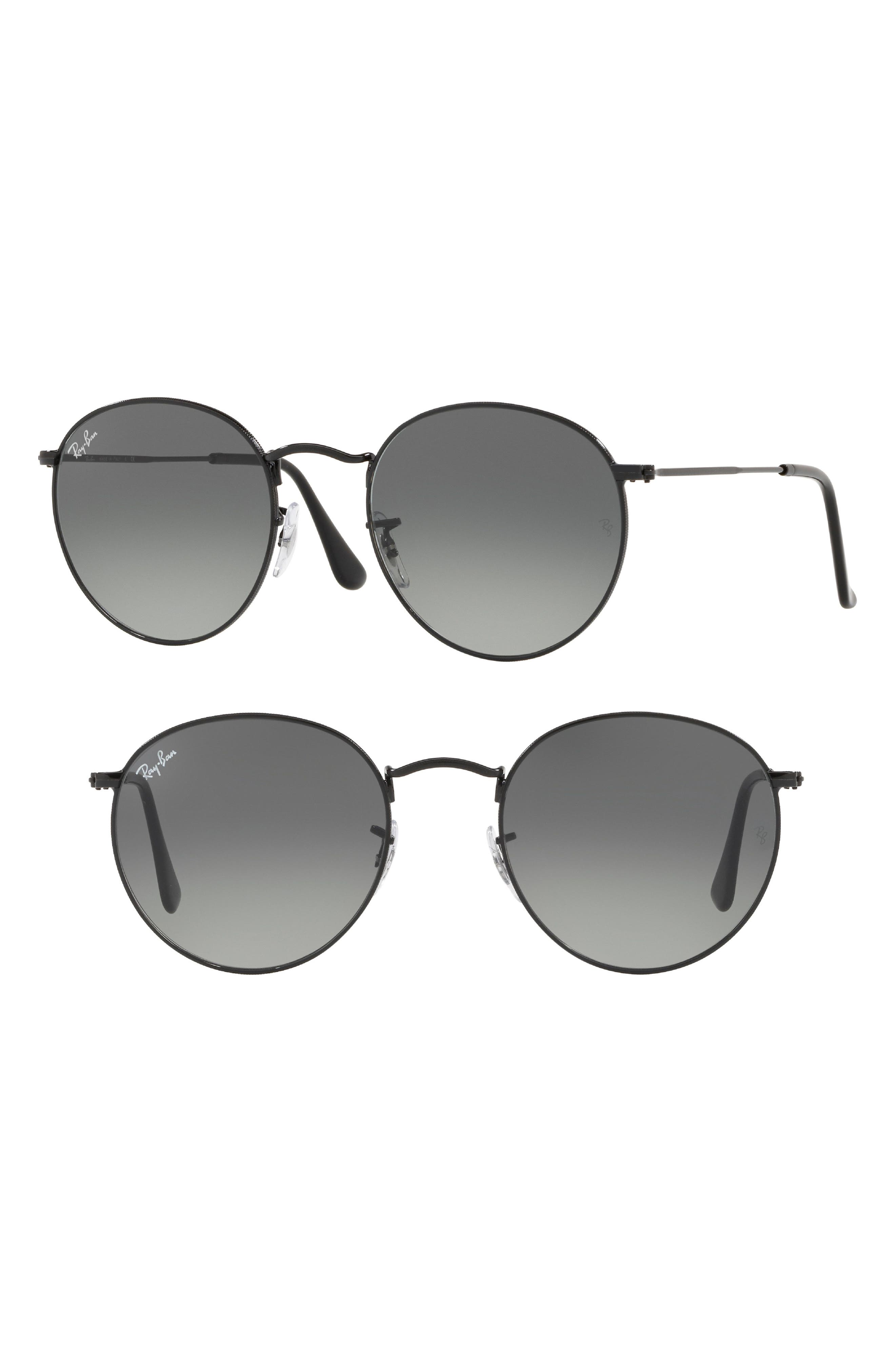 53mm Round Retro Sunglasses,                         Main,                         color, Black