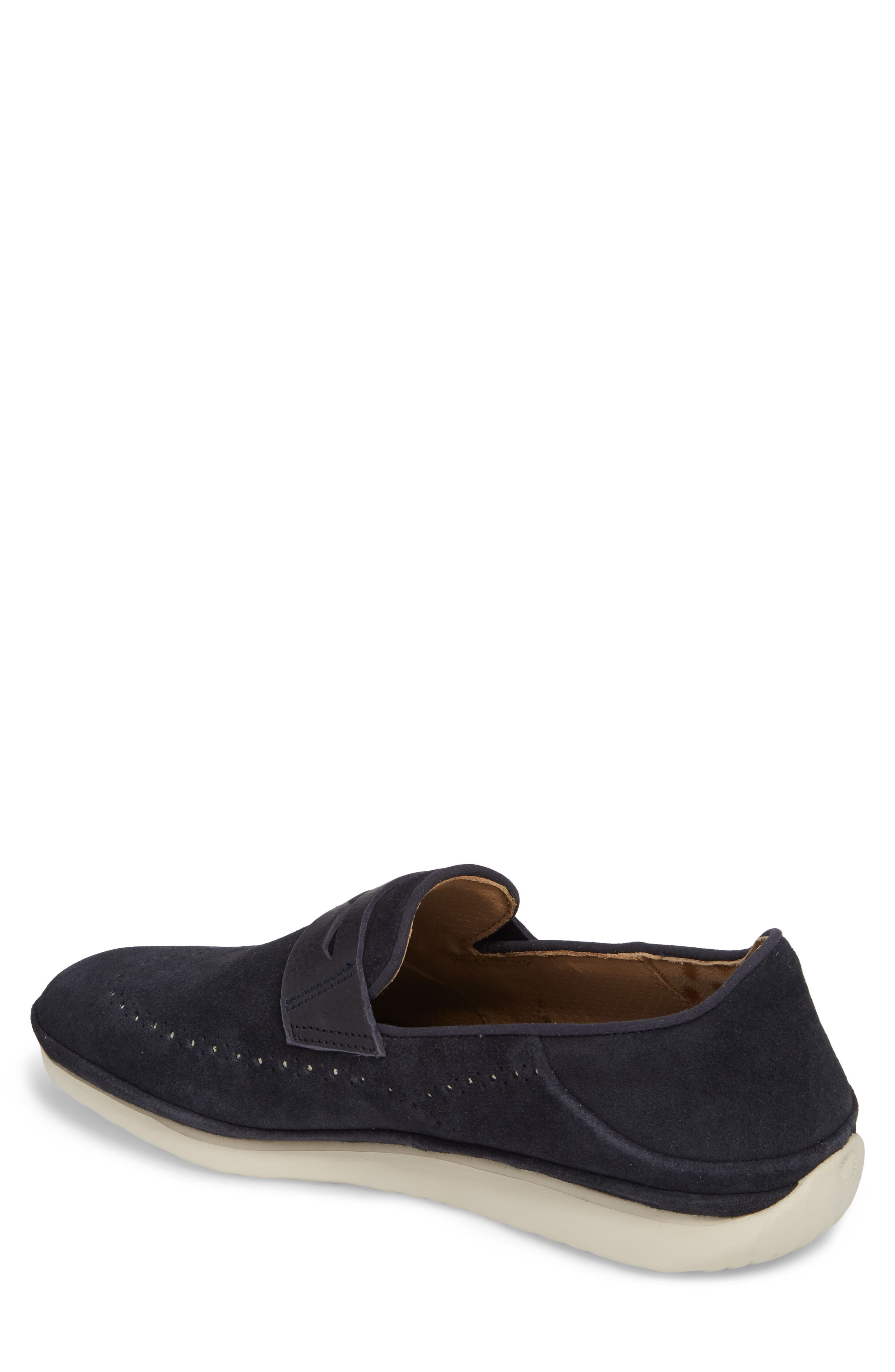 Cali Collapsible Wingtip Penny Loafer,                             Alternate thumbnail 2, color,                             Navy Leather