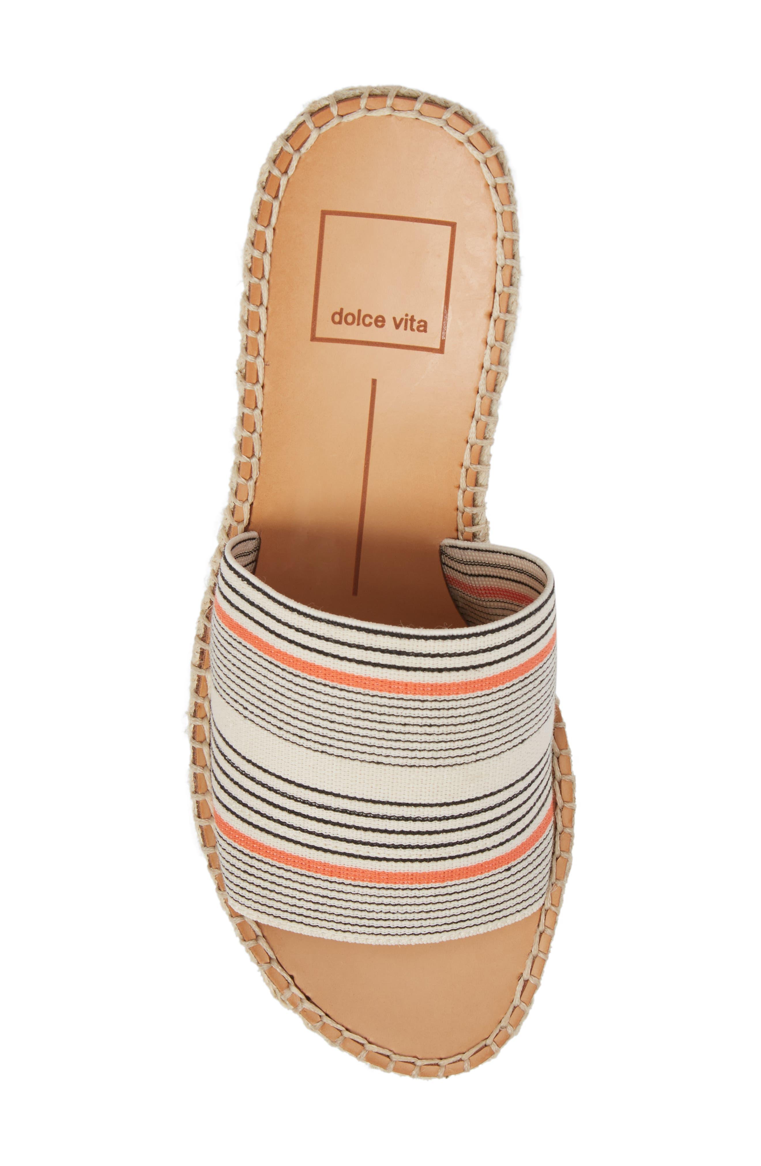 Pim Platform Wedge Slide,                             Alternate thumbnail 5, color,                             Coral Stripe