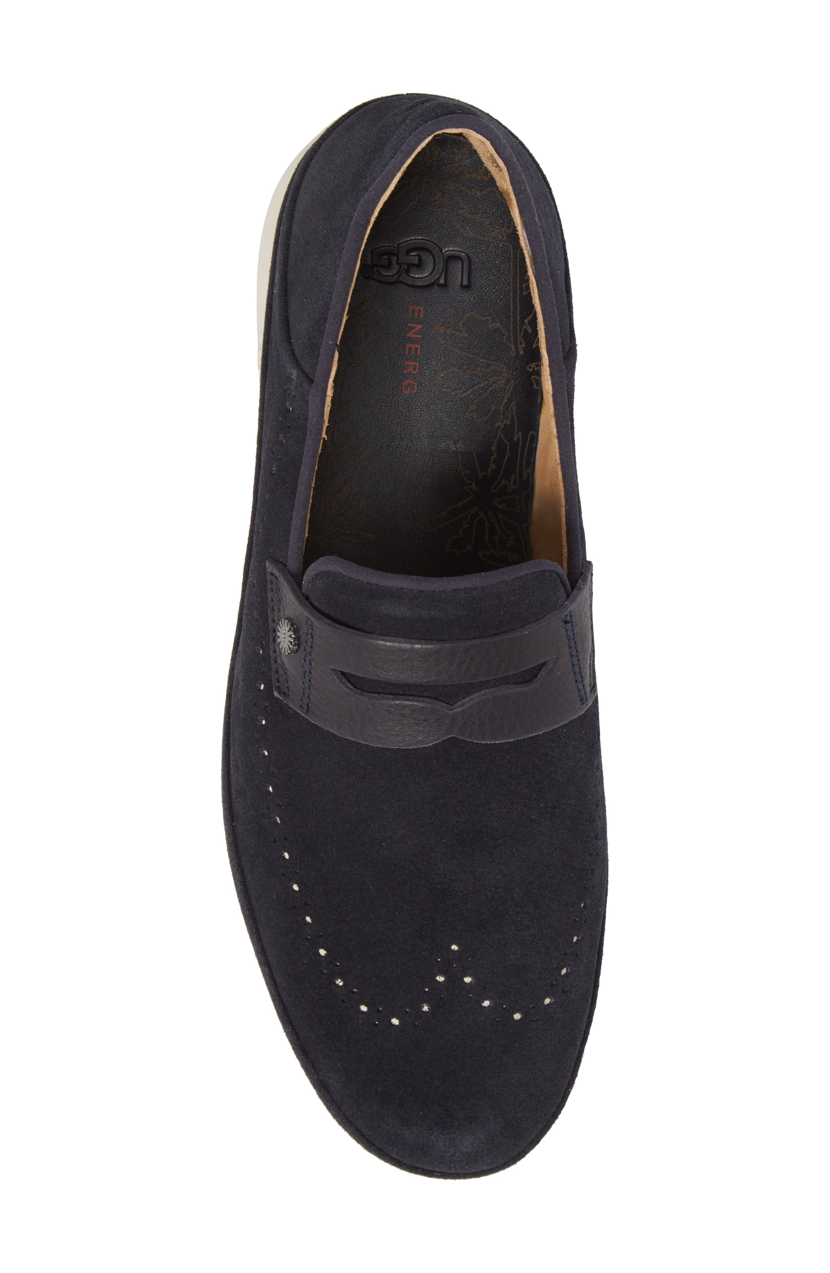 Cali Collapsible Wingtip Penny Loafer,                             Alternate thumbnail 3, color,                             Navy Leather