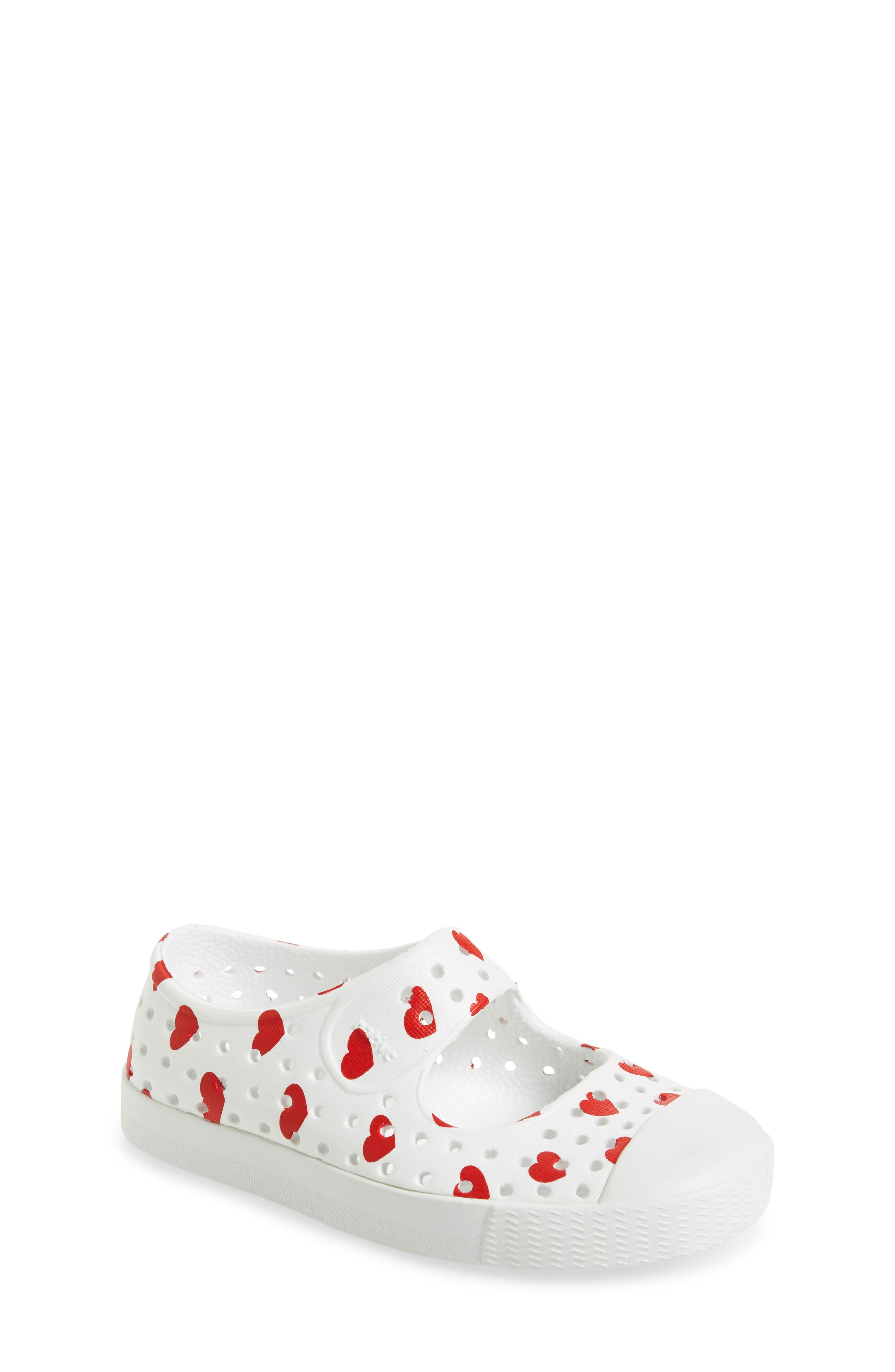 Native Juniper Print Perforated Mary Jane,                             Main thumbnail 1, color,                             Shell White/ Torch Blue Heart