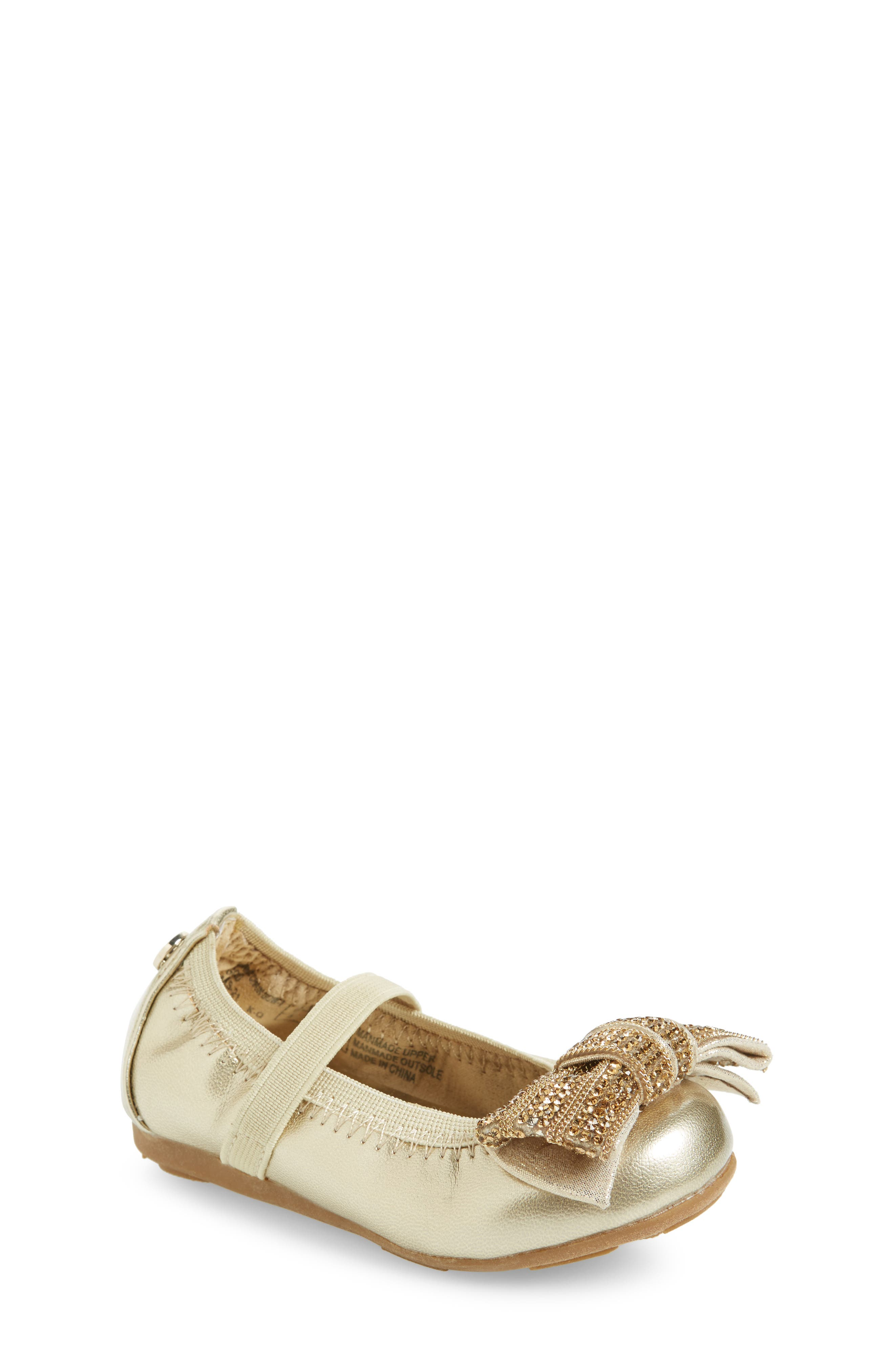 Stuart Weitzman Fannie Embellished Bow Mary Jane Flat (Walker & Toddler)