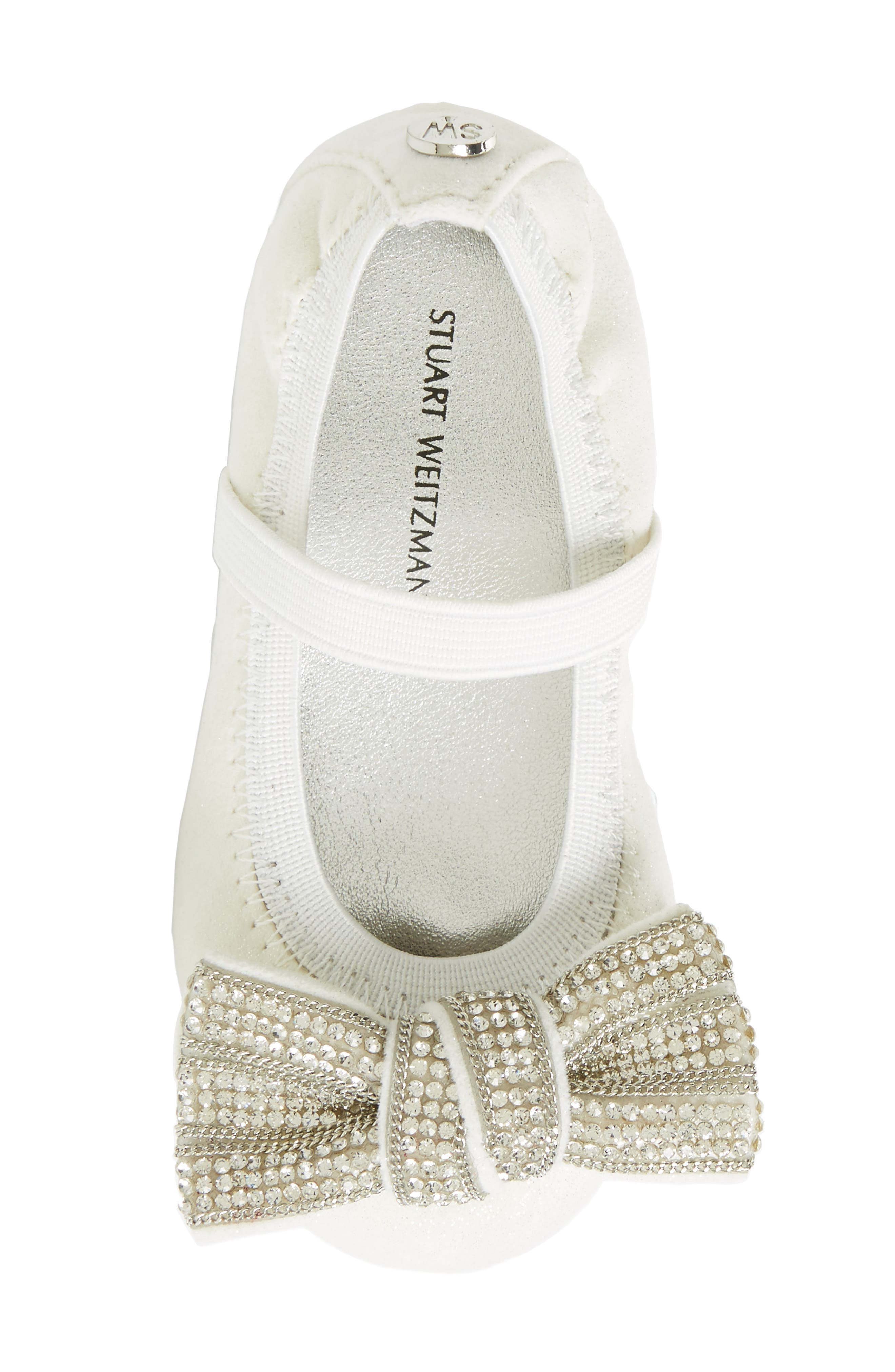 Fannie Embellished Bow Mary Jane Flat,                             Alternate thumbnail 5, color,                             White