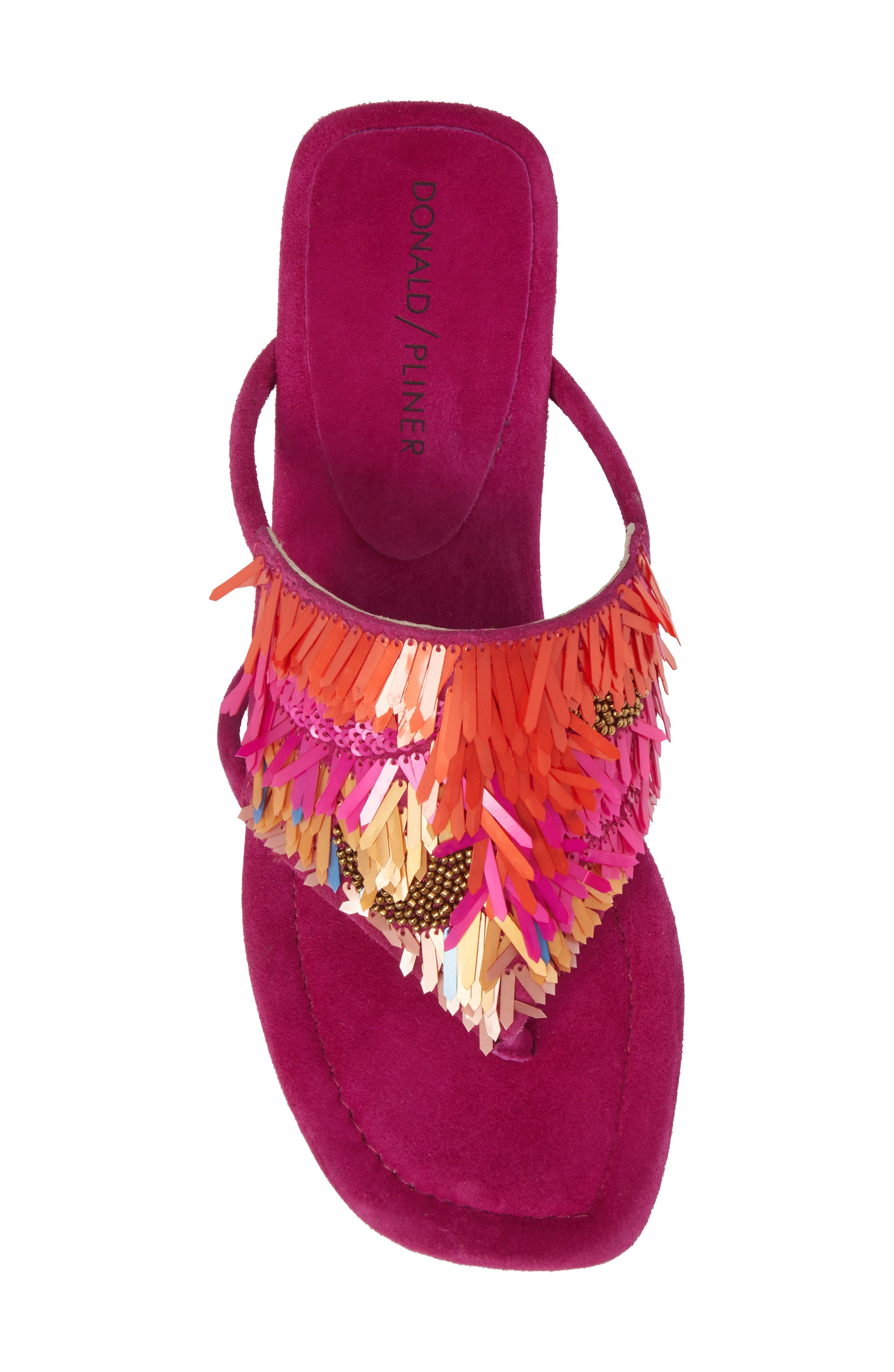 Kya Feather Sequin Sandal,                             Alternate thumbnail 5, color,                             Magenta Leather