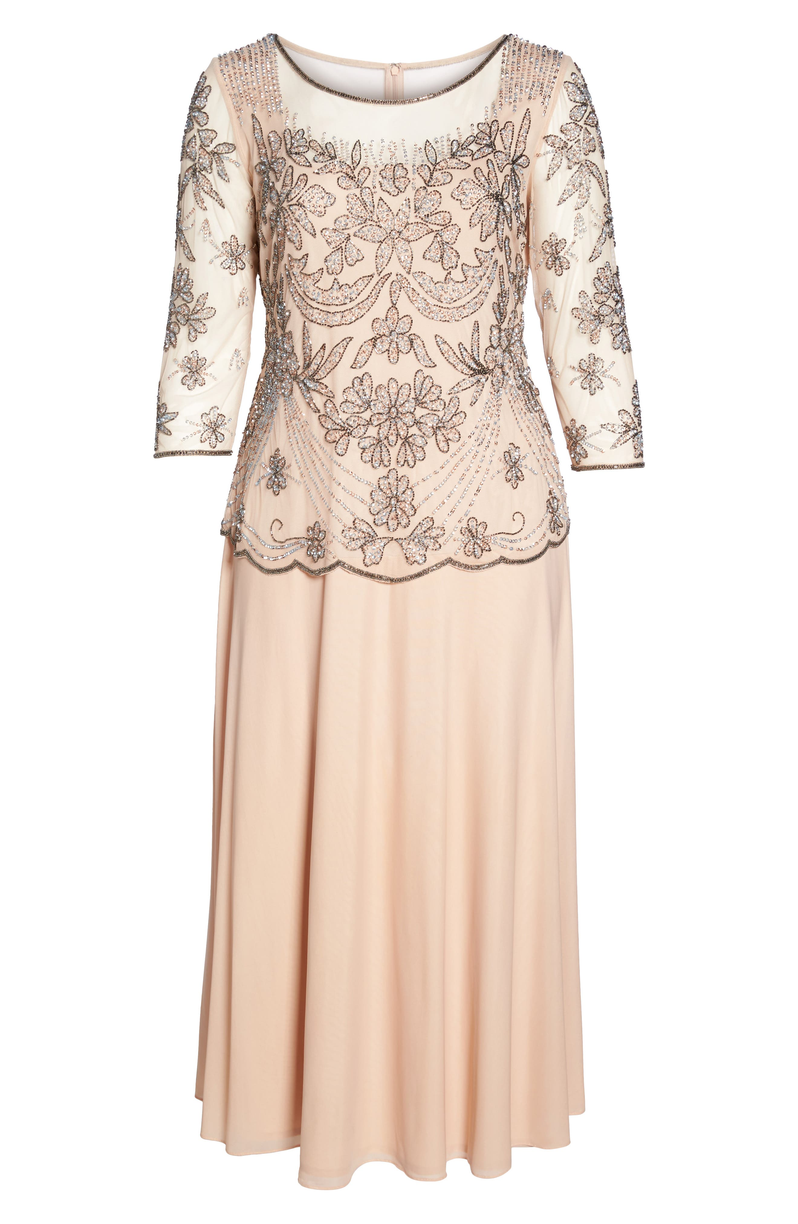 Embellished Illusion Bodice Gown,                             Alternate thumbnail 6, color,                             Blush