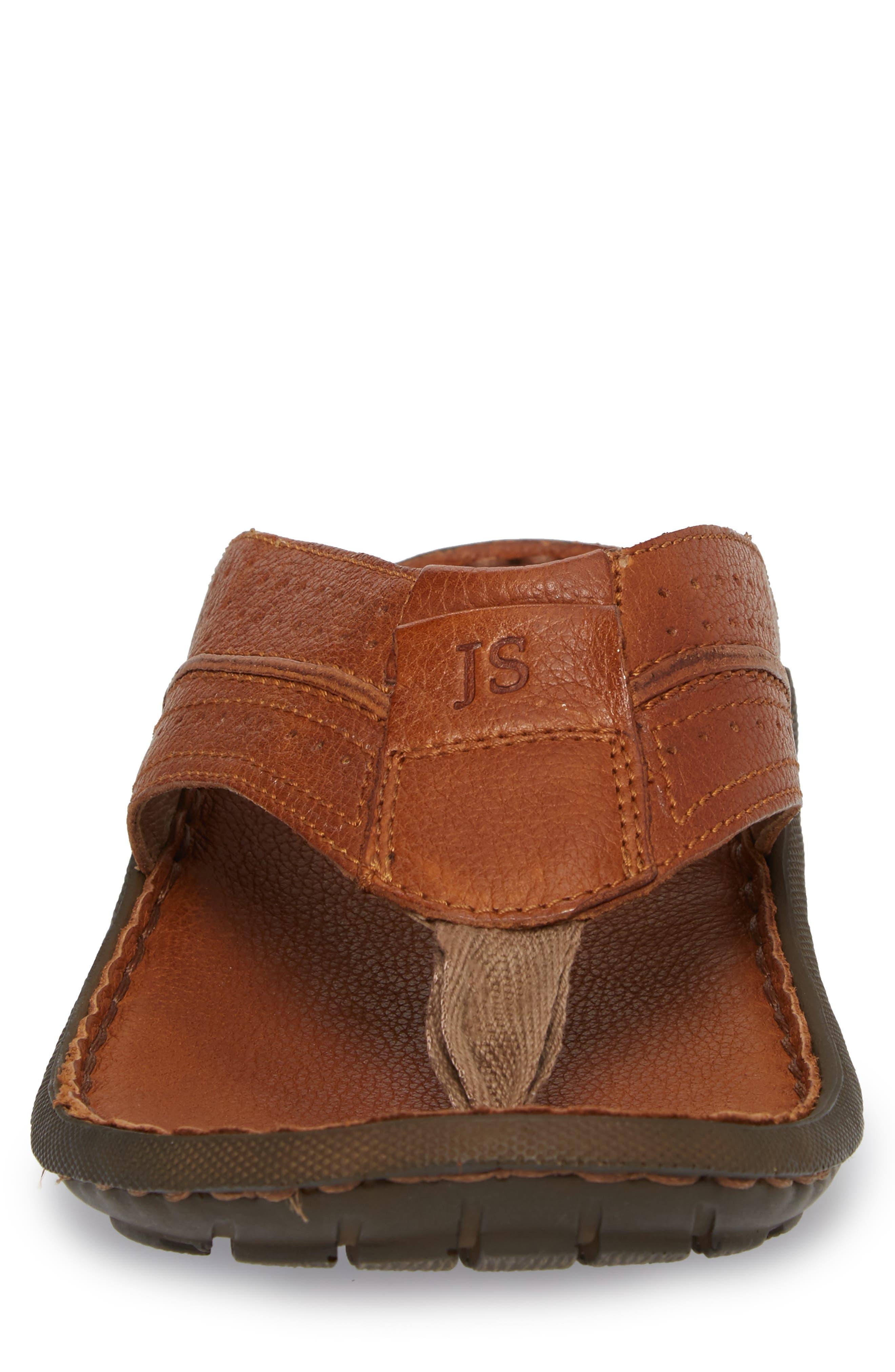 Logan Flip Flop,                             Alternate thumbnail 4, color,                             Brown Leather