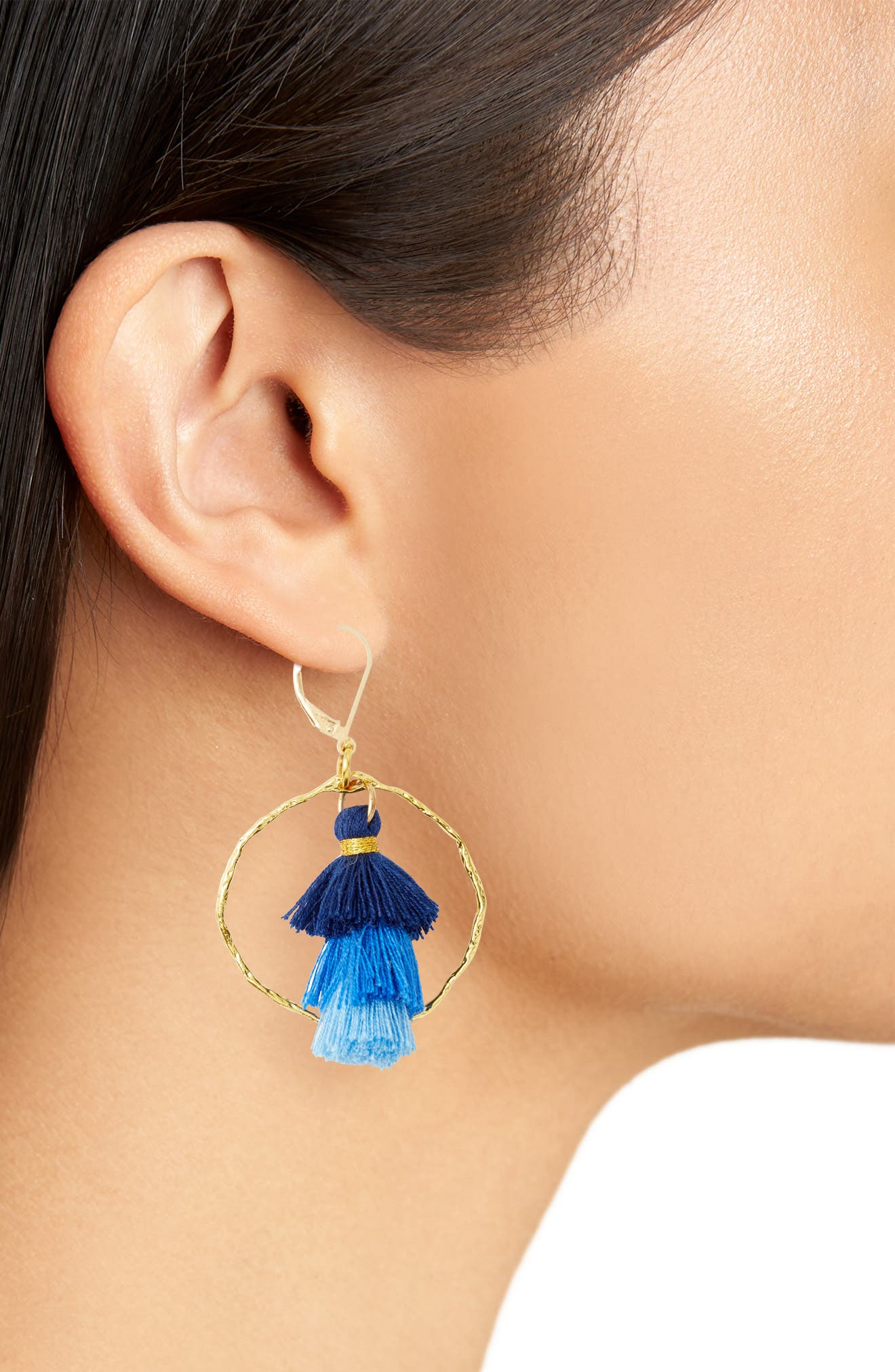 Ibiza Tassel & Hammered Hoop Earrings,                             Alternate thumbnail 2, color,                             Blue/ Gold