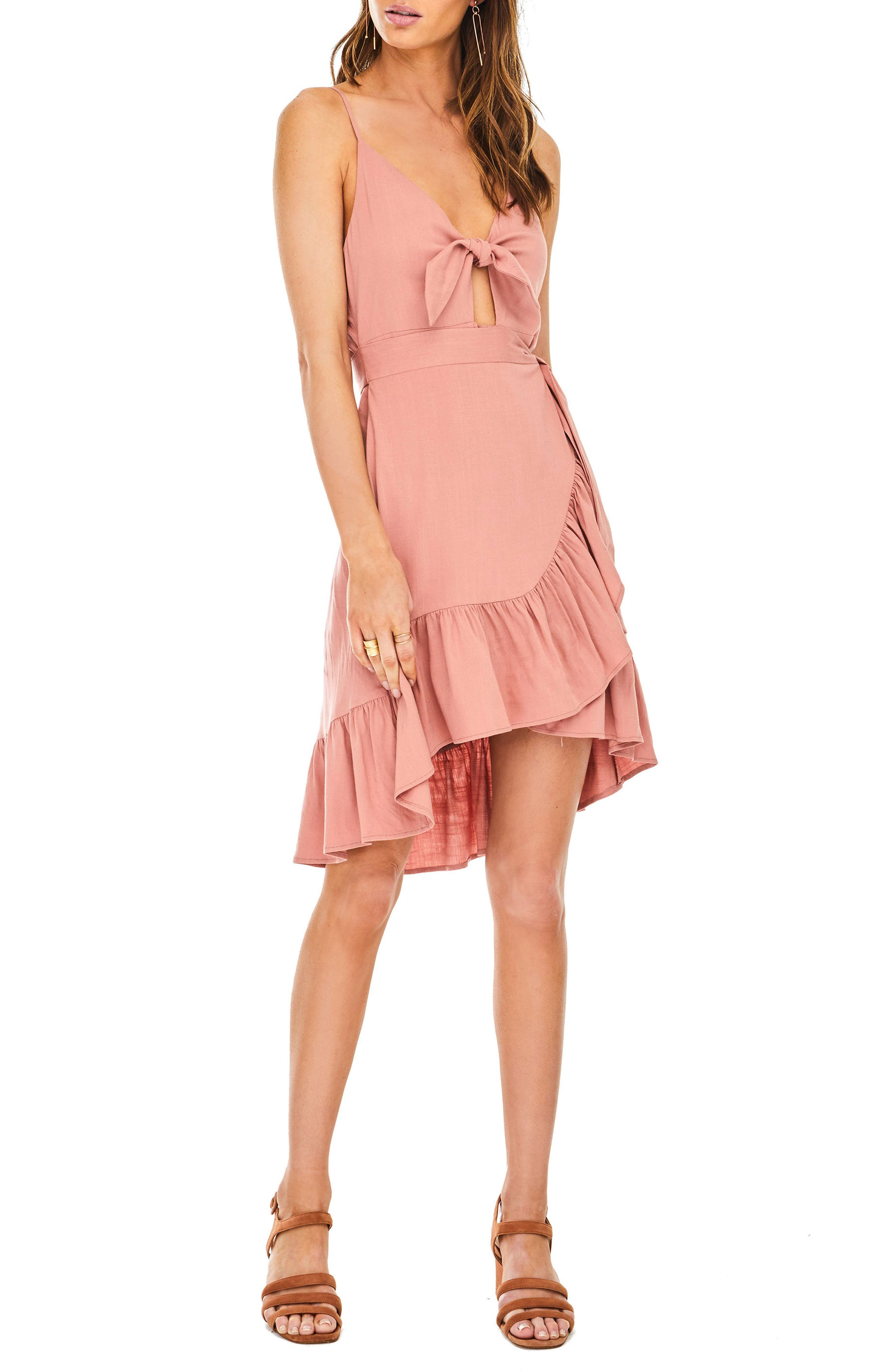 Sandy High/Low Minidress,                         Main,                         color, Carnation Pink