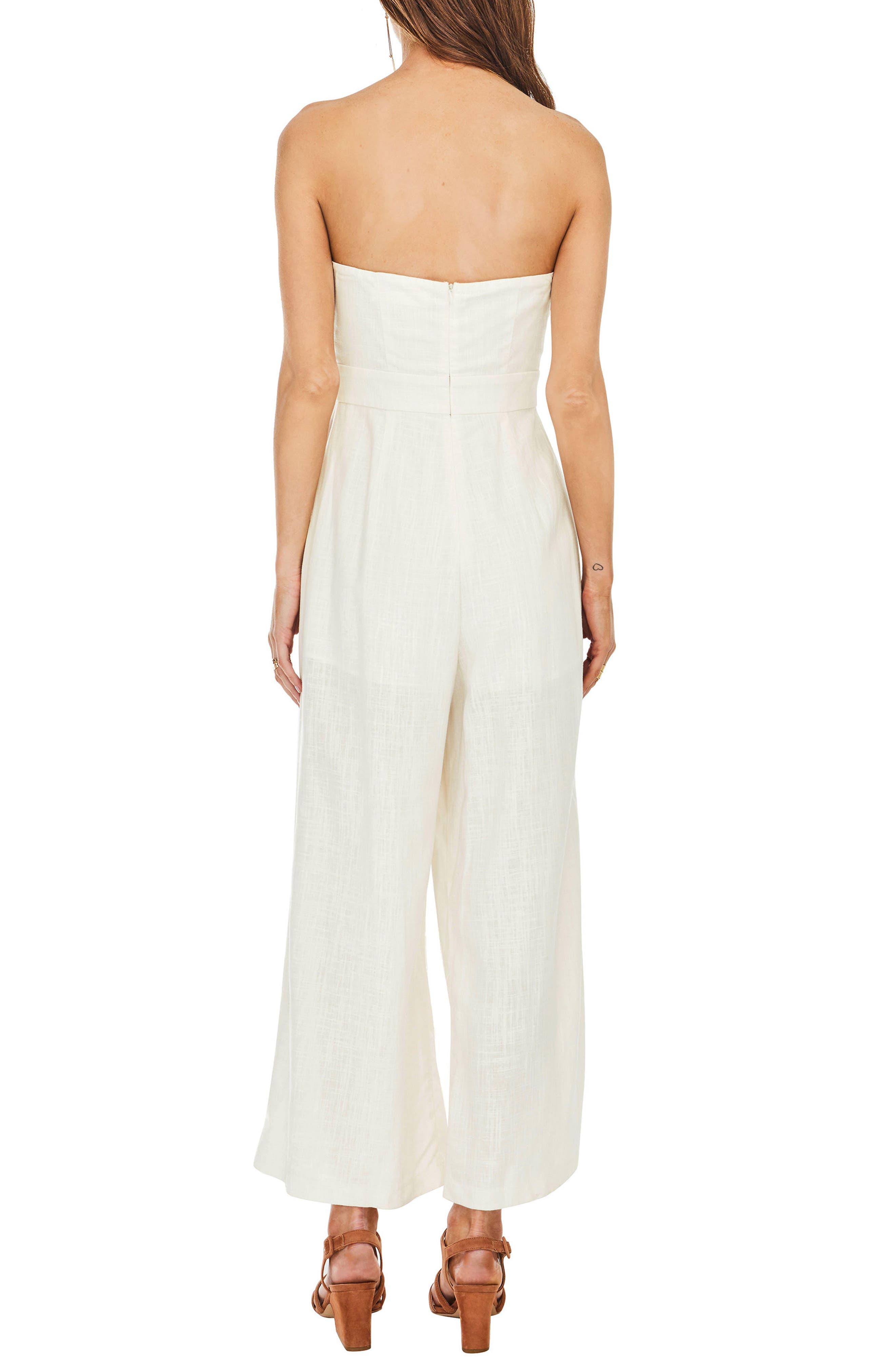Mara Strapless Jumpsuit,                             Alternate thumbnail 3, color,                             Natural