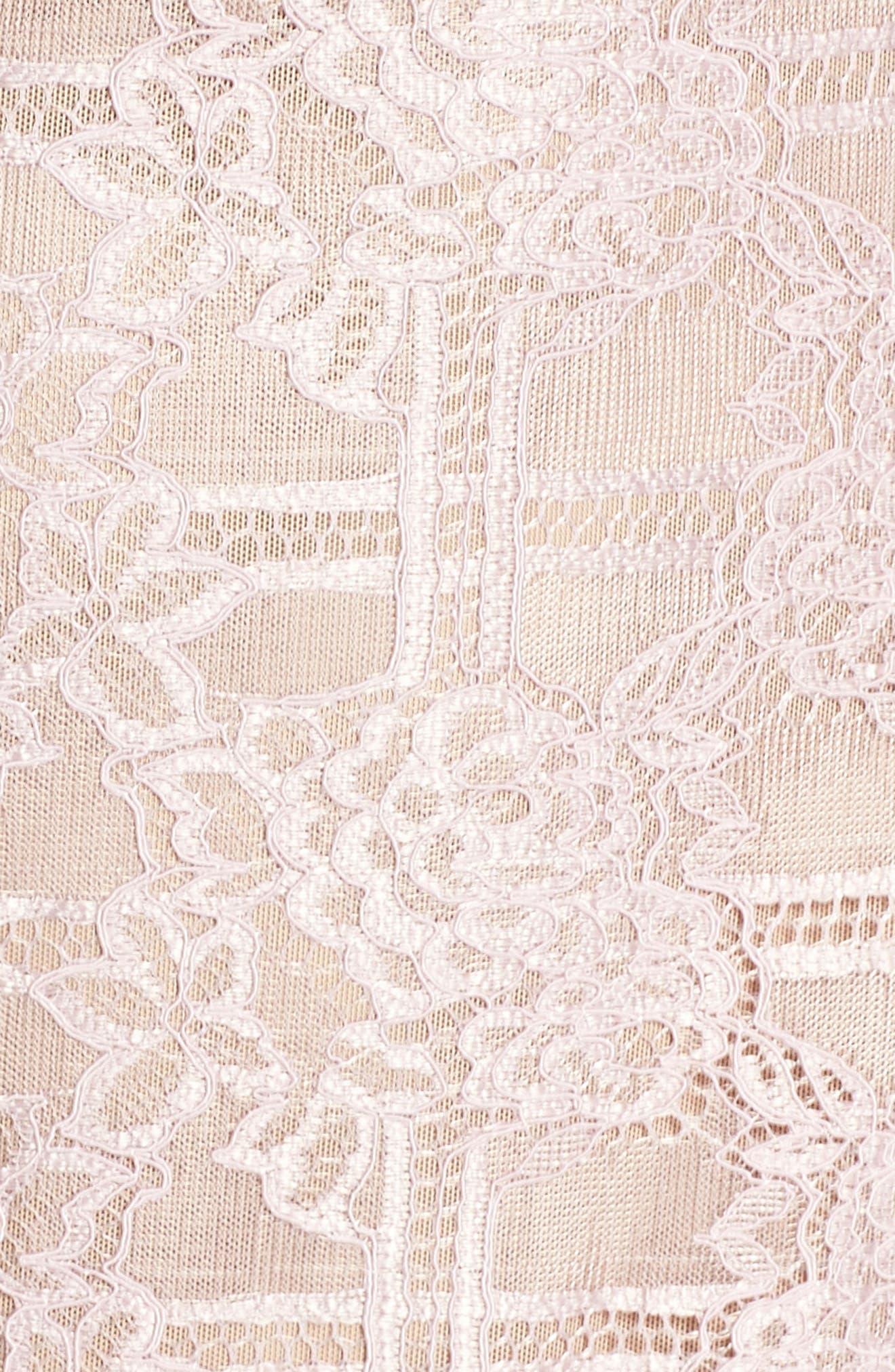 Natasha Asymmetrical Lace Dress,                             Alternate thumbnail 5, color,                             Blush