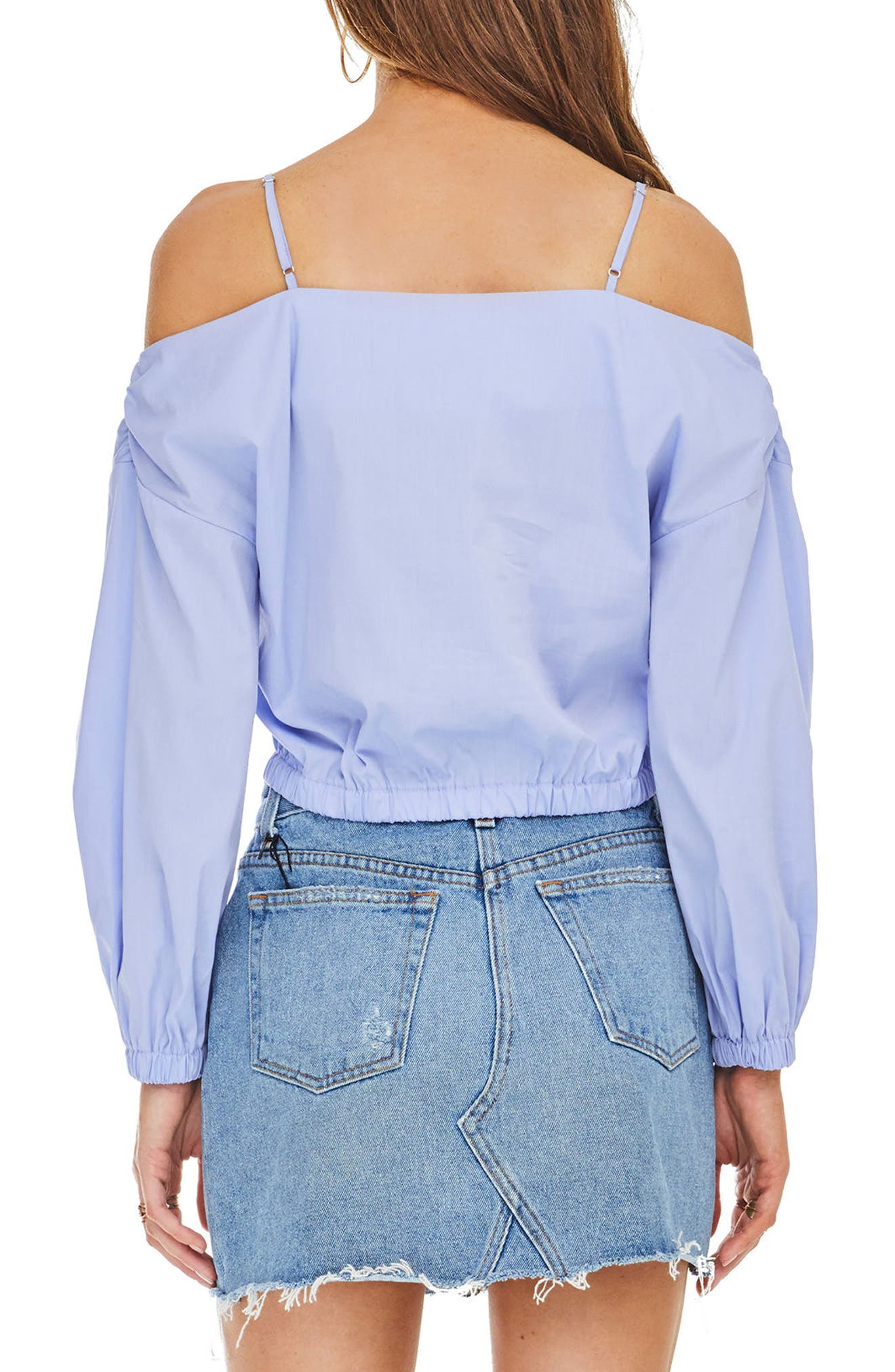 Raegan Off the Shoulder Top,                             Alternate thumbnail 3, color,                             Cotton Blue