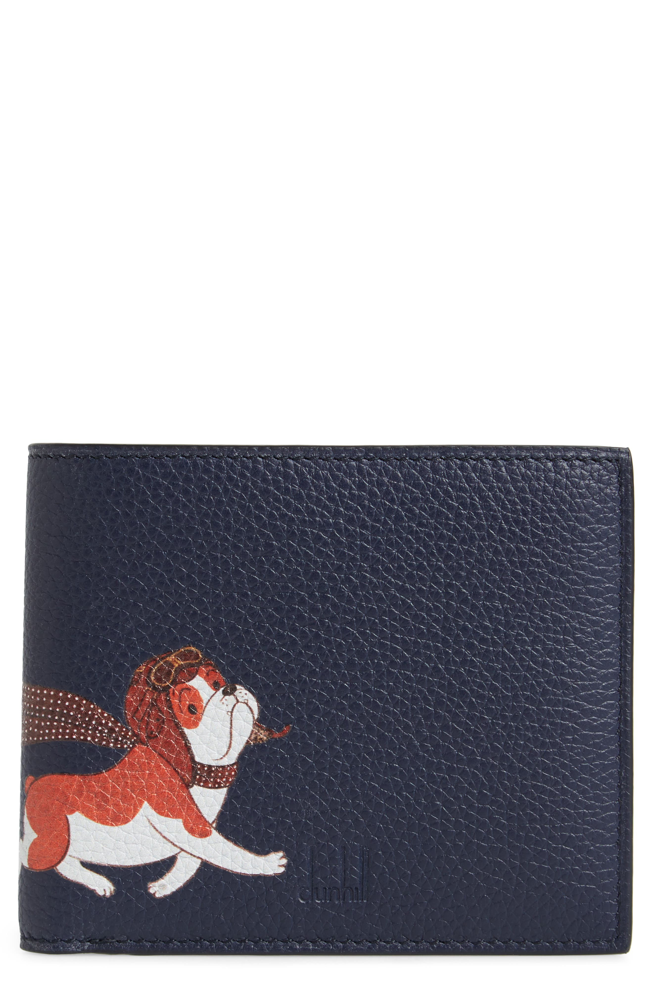 Boston Bulldog Leather Bifold Wallet,                         Main,                         color, Navy