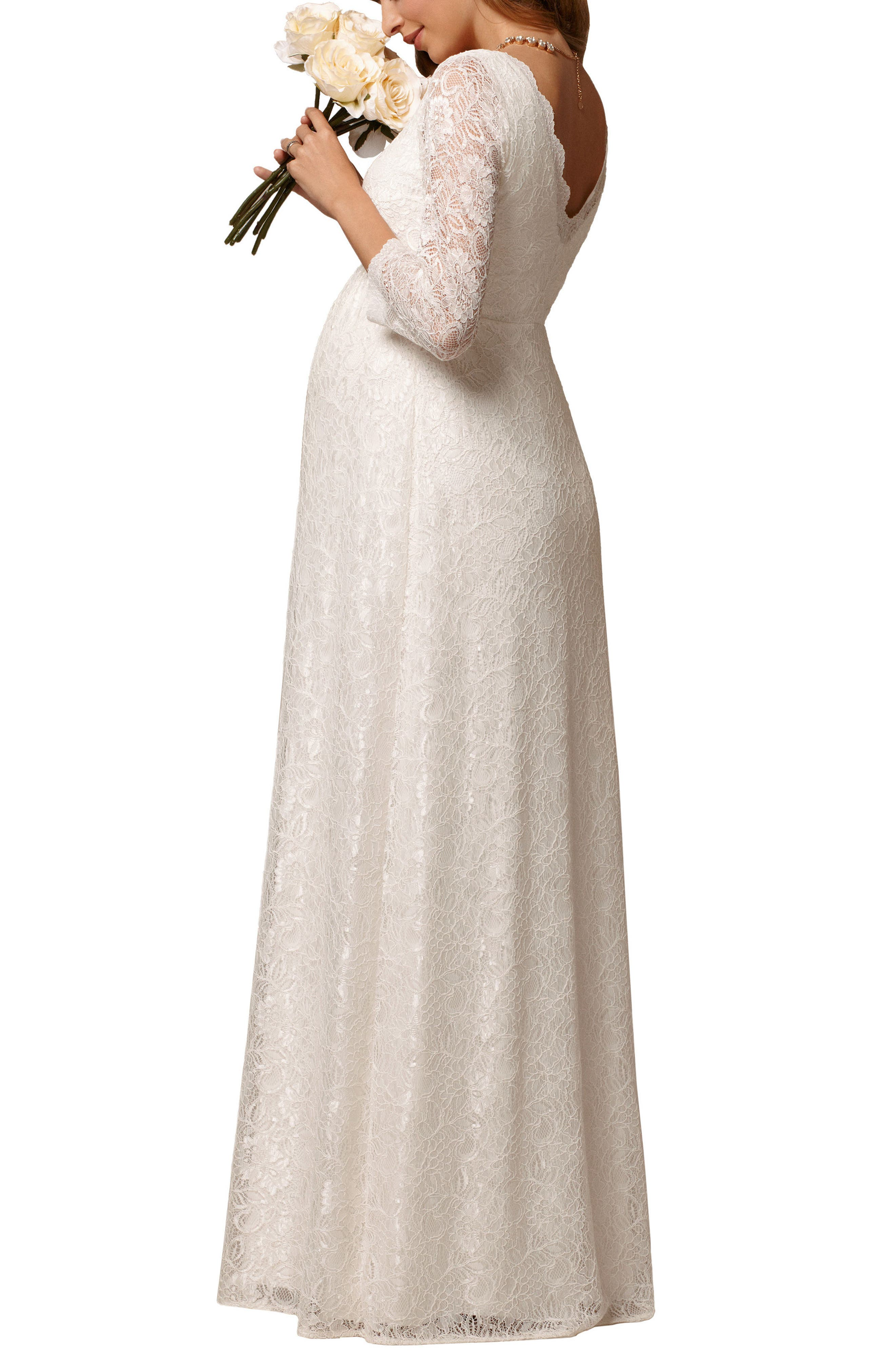 Chloe Lace Maternity Gown,                             Alternate thumbnail 2, color,                             Ivory