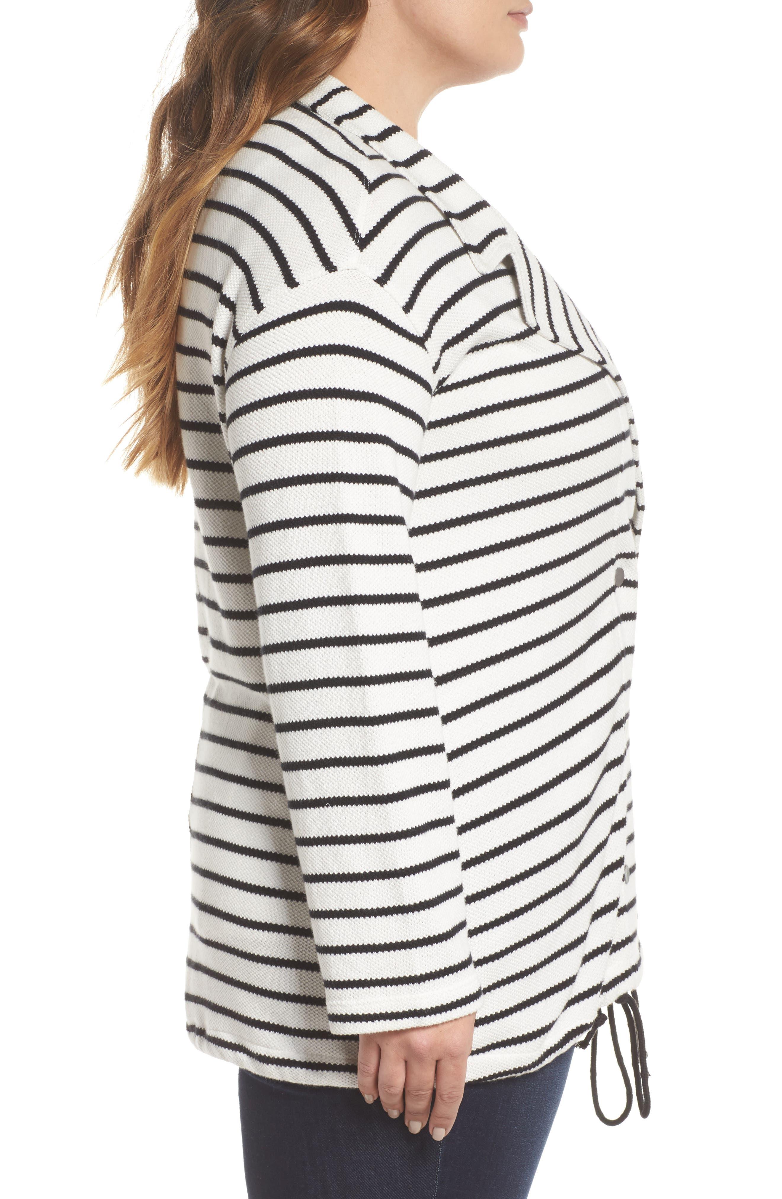Stripe Peacoat Knit Jacket,                             Alternate thumbnail 3, color,                             Ivory- Black Stripe