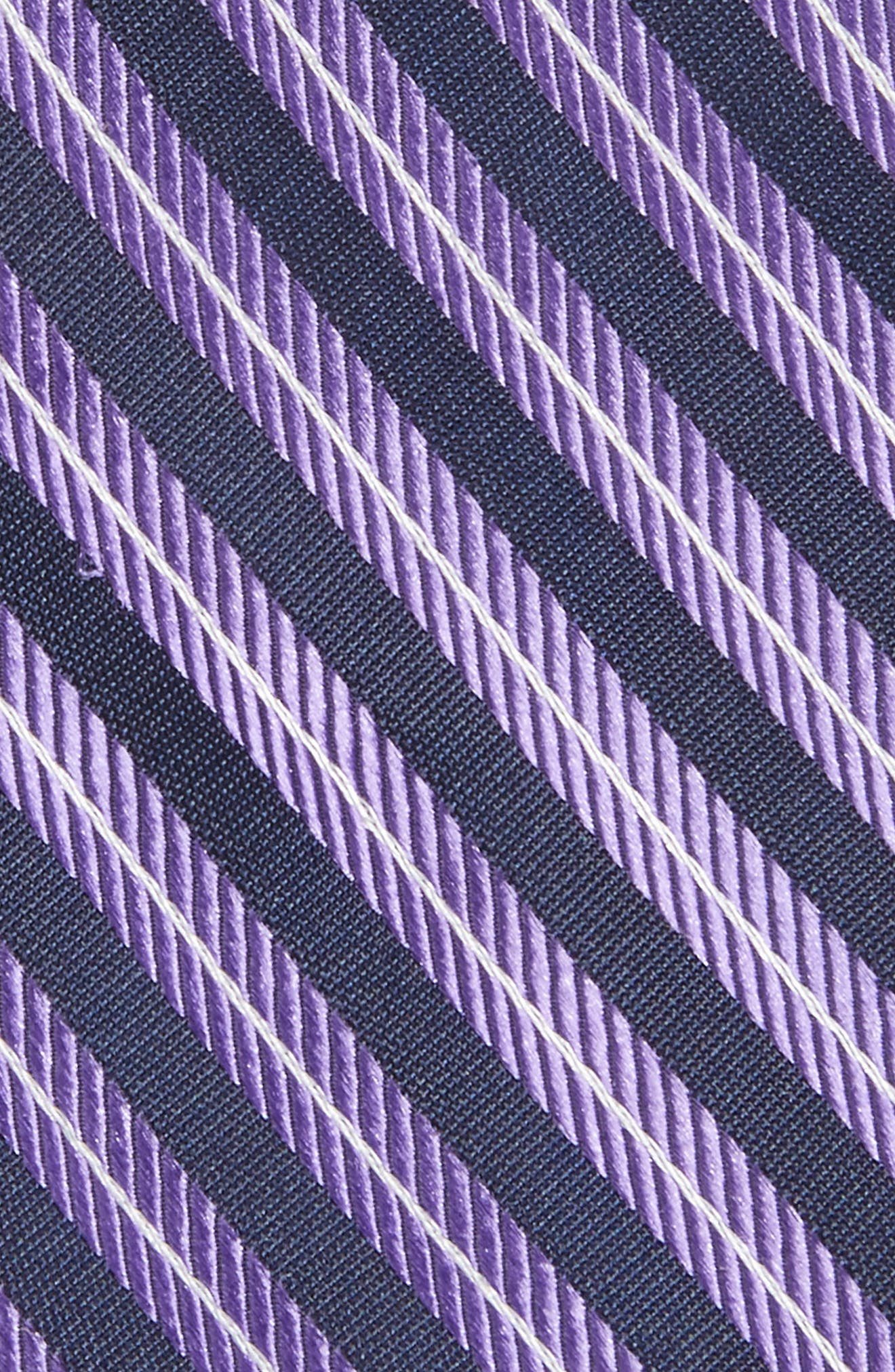 Milliner Stripe Silk Tie,                             Alternate thumbnail 2, color,                             Purple