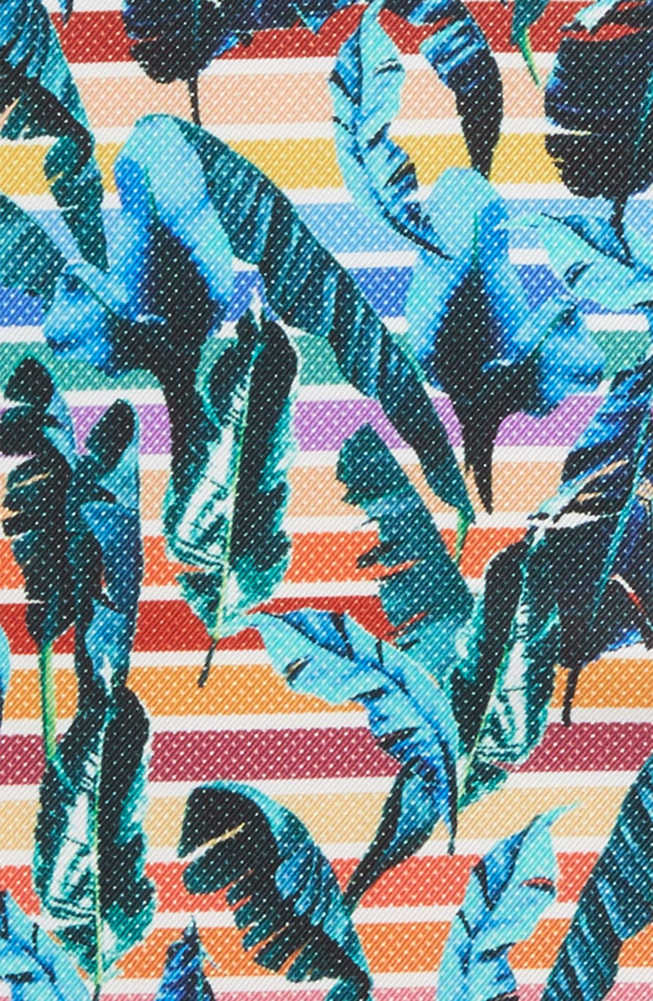 Tropical Leaf Silk Pocket Square,                             Alternate thumbnail 3, color,                             Multi