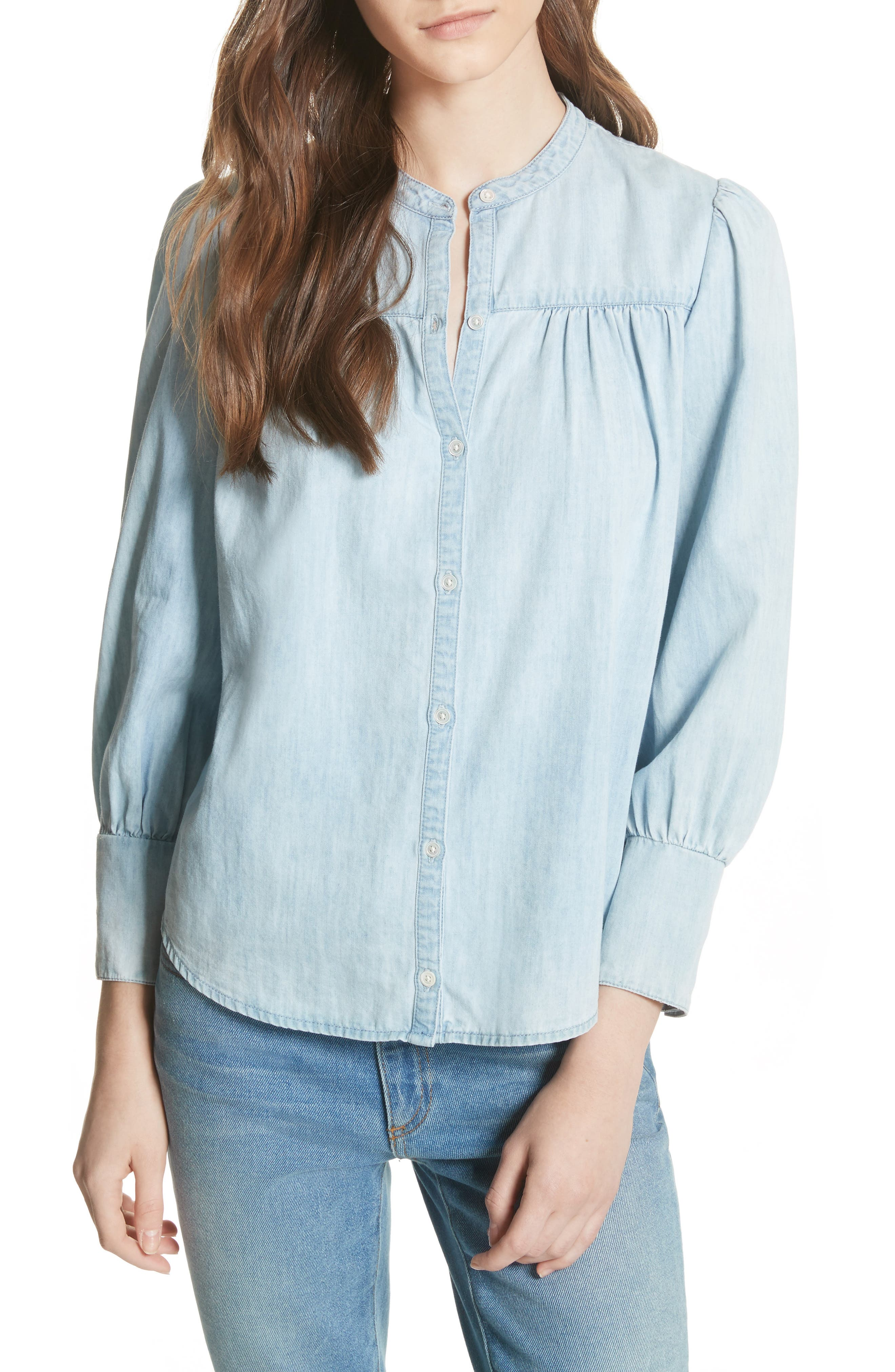 Aubrielle Silk Cotton Chambray Top,                             Main thumbnail 1, color,                             Western Fade