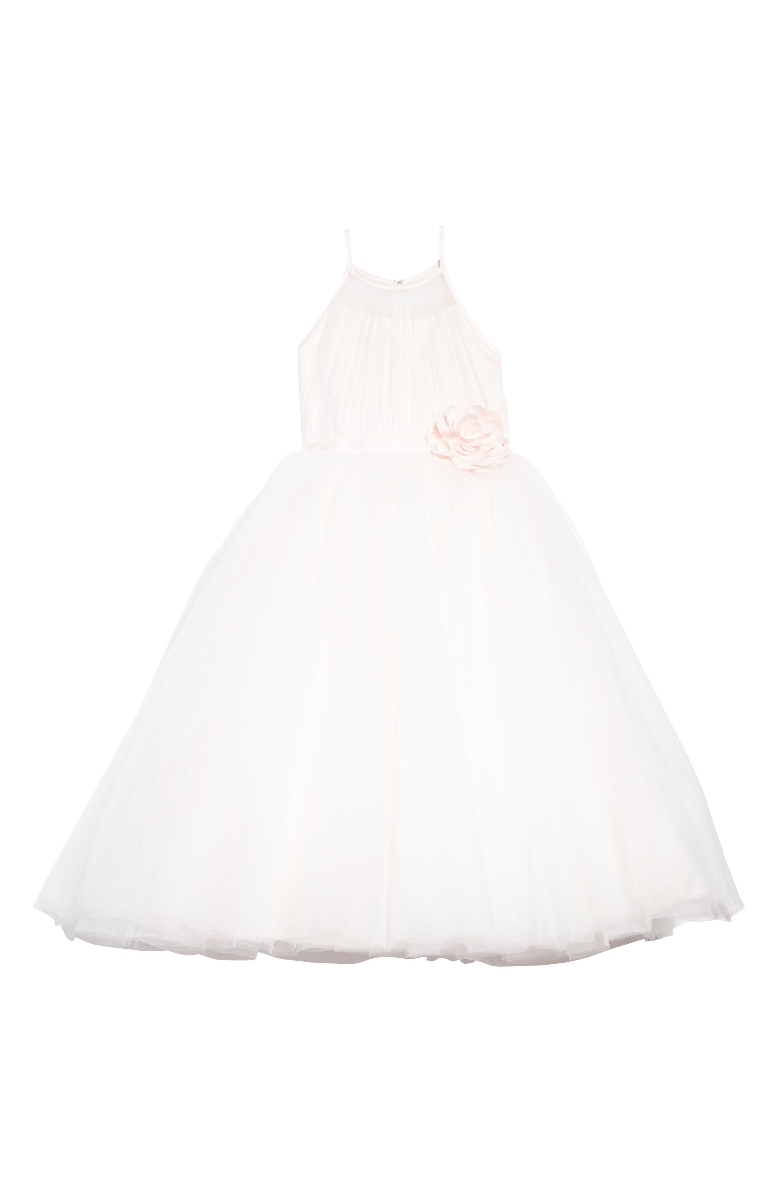 Satin & Tulle Mock Halter Dress,                             Main thumbnail 1, color,                             Ivory/ Light Pink