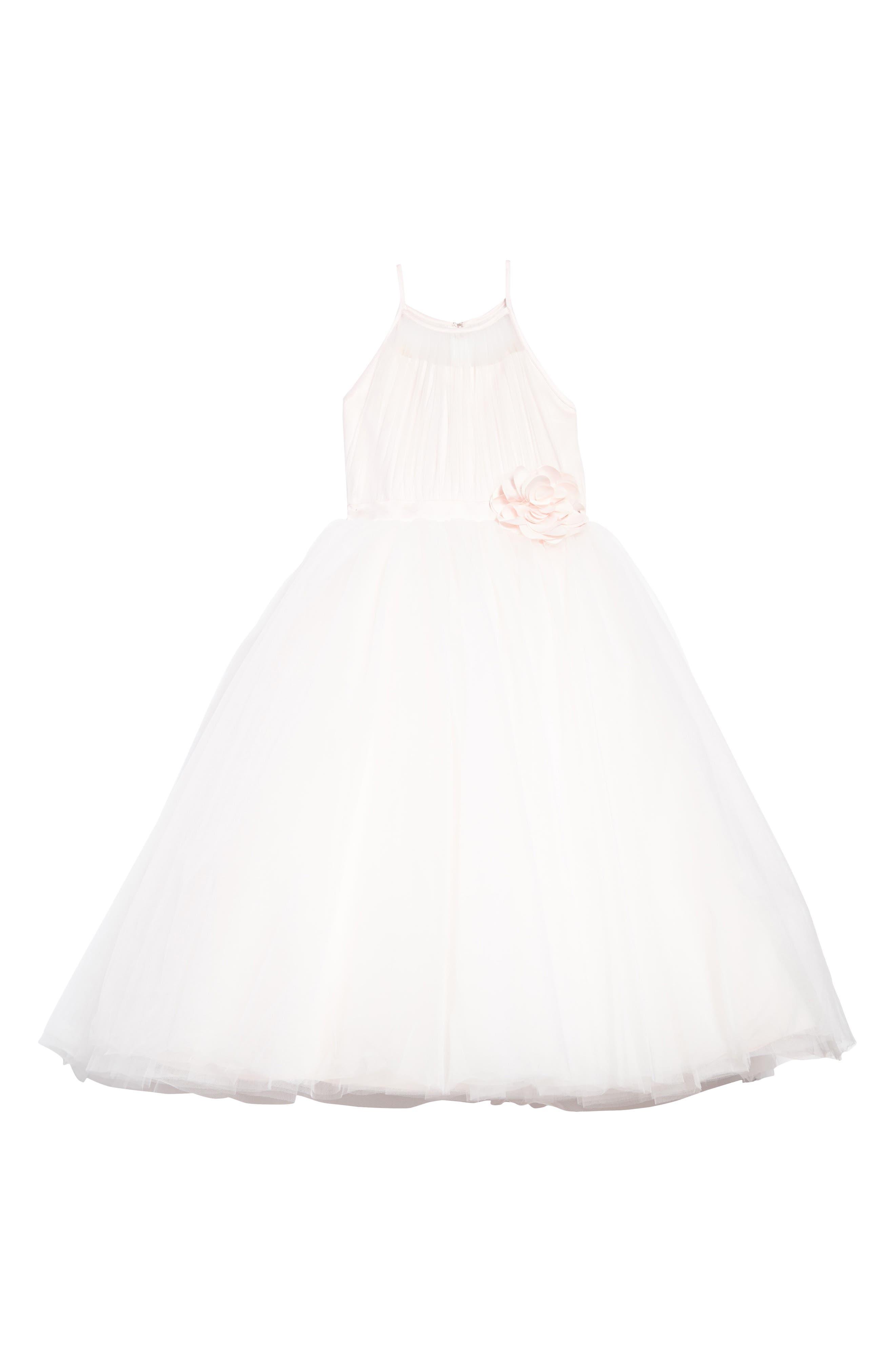 Joan Calabrese for Mon Cheri Satin & Tulle Mock Halter Dress (Toddler Girls, Little Girls & Big Girls)