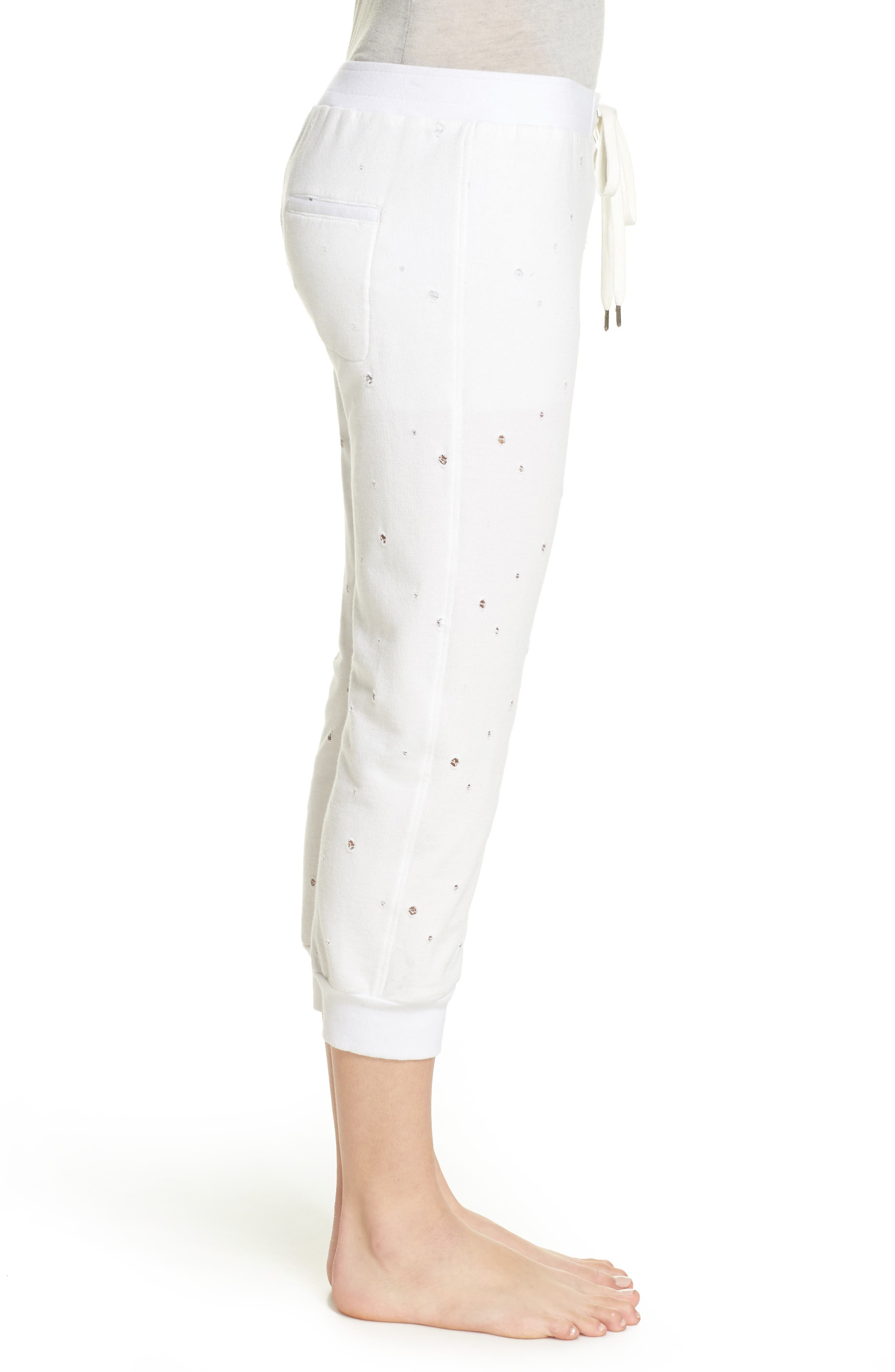 Distressed Crop Lounge Pants,                             Alternate thumbnail 3, color,                             White
