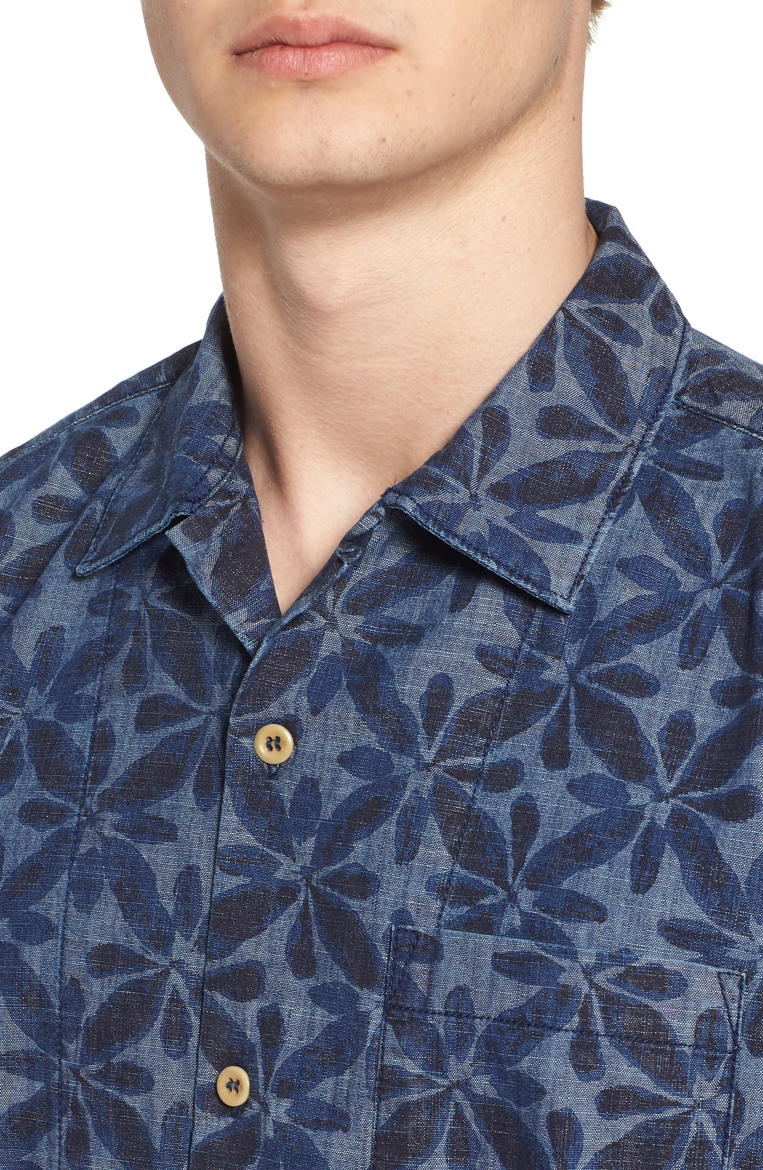 Franju Floral Slim Fit Woven Shirt,                             Alternate thumbnail 4, color,                             Rinse And Softener