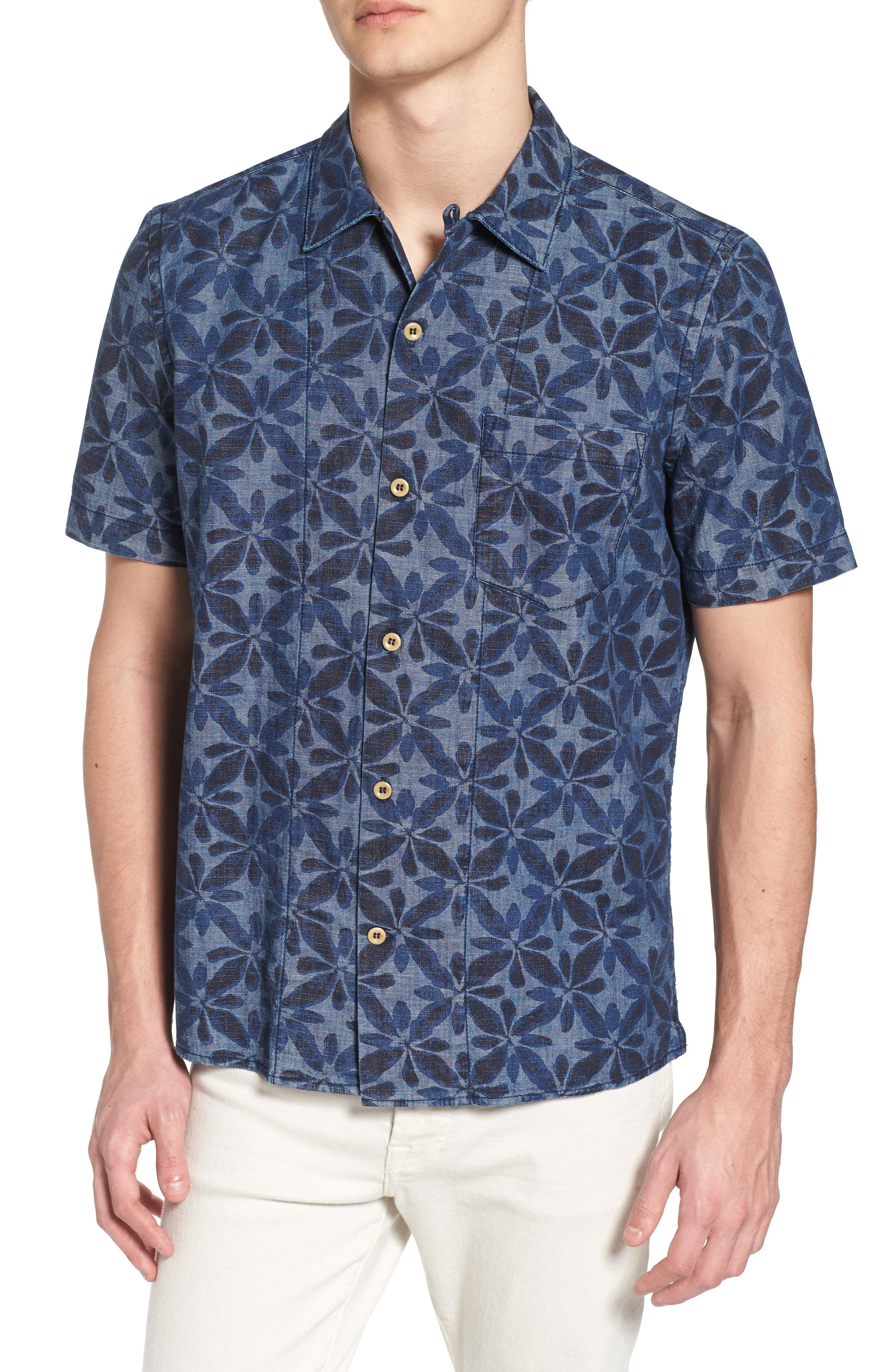 Franju Floral Slim Fit Woven Shirt,                         Main,                         color, Rinse And Softener