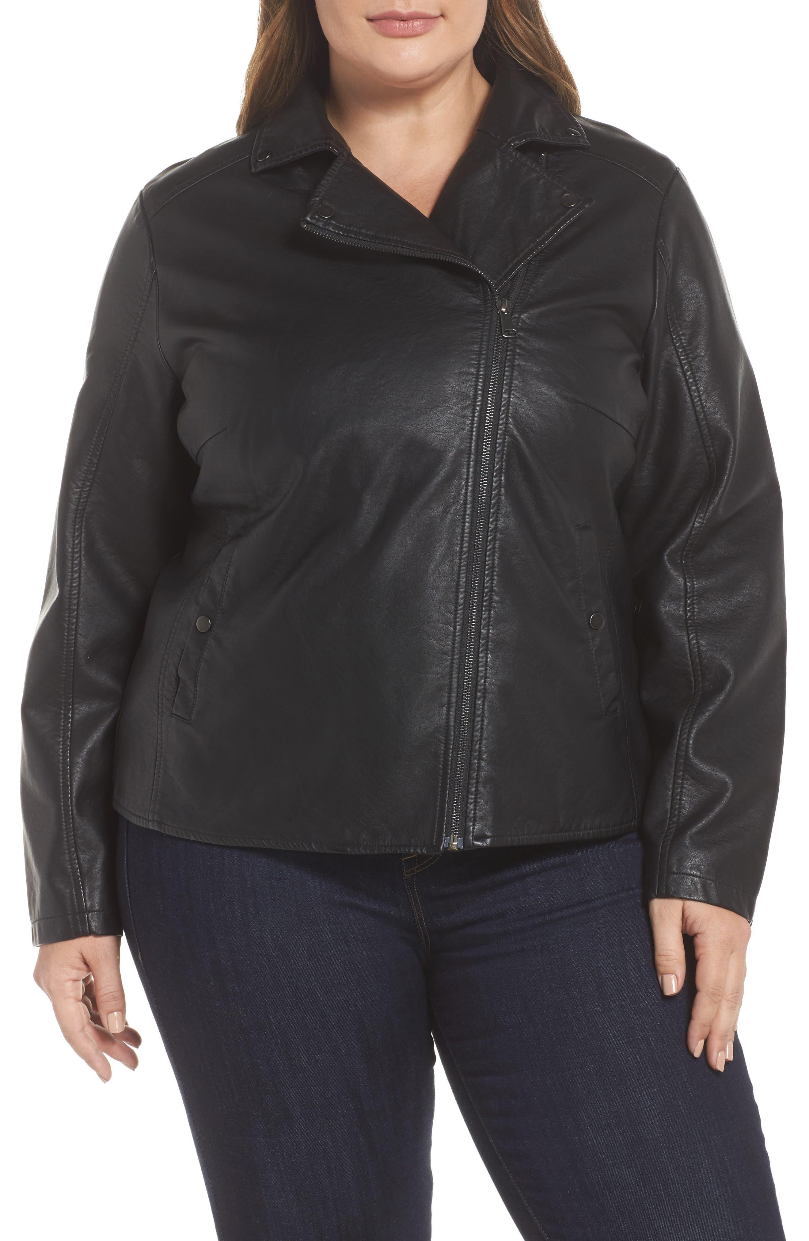 Alternate Image 2  - JUNAROSE Karisa Faux Leather Moto Jacket (Plus Size)