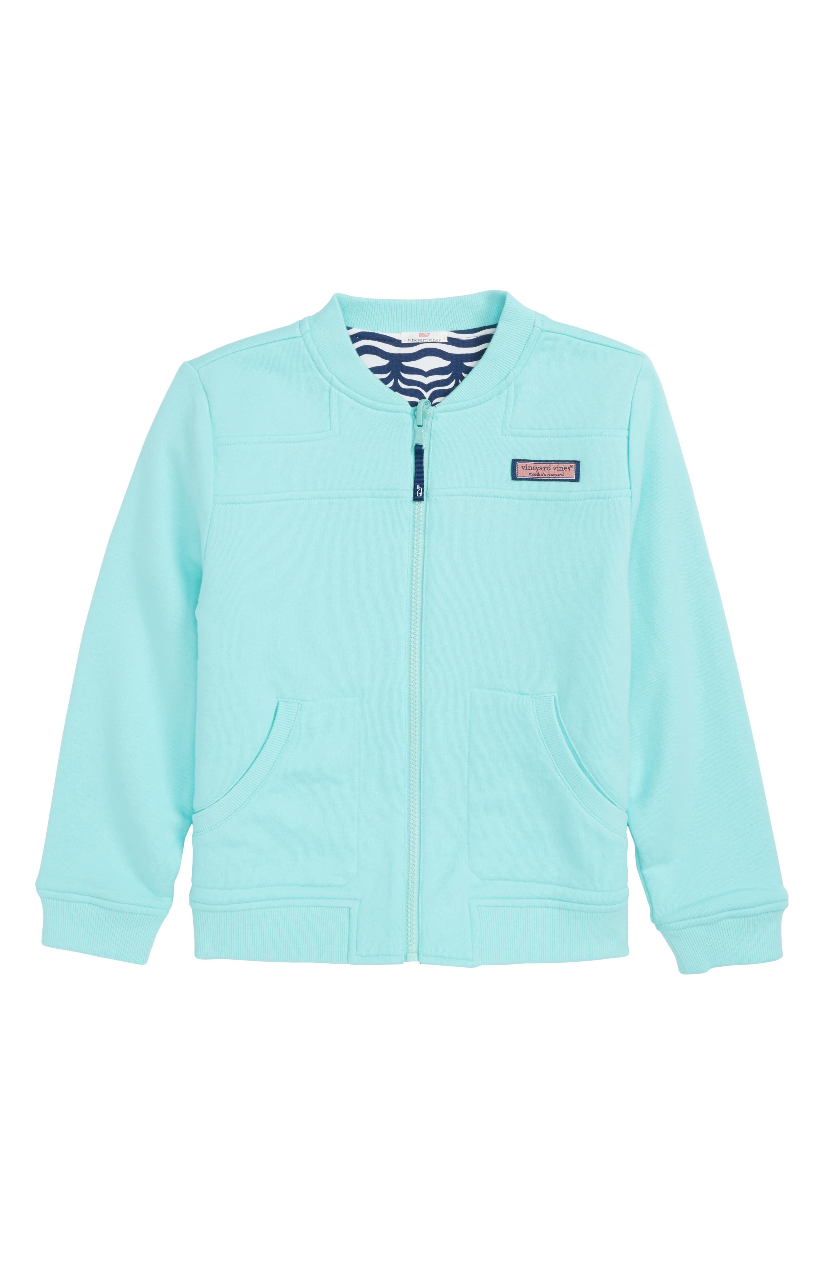 Reversible Full Zip Bomber Jacket,                             Main thumbnail 1, color,                             Caicos