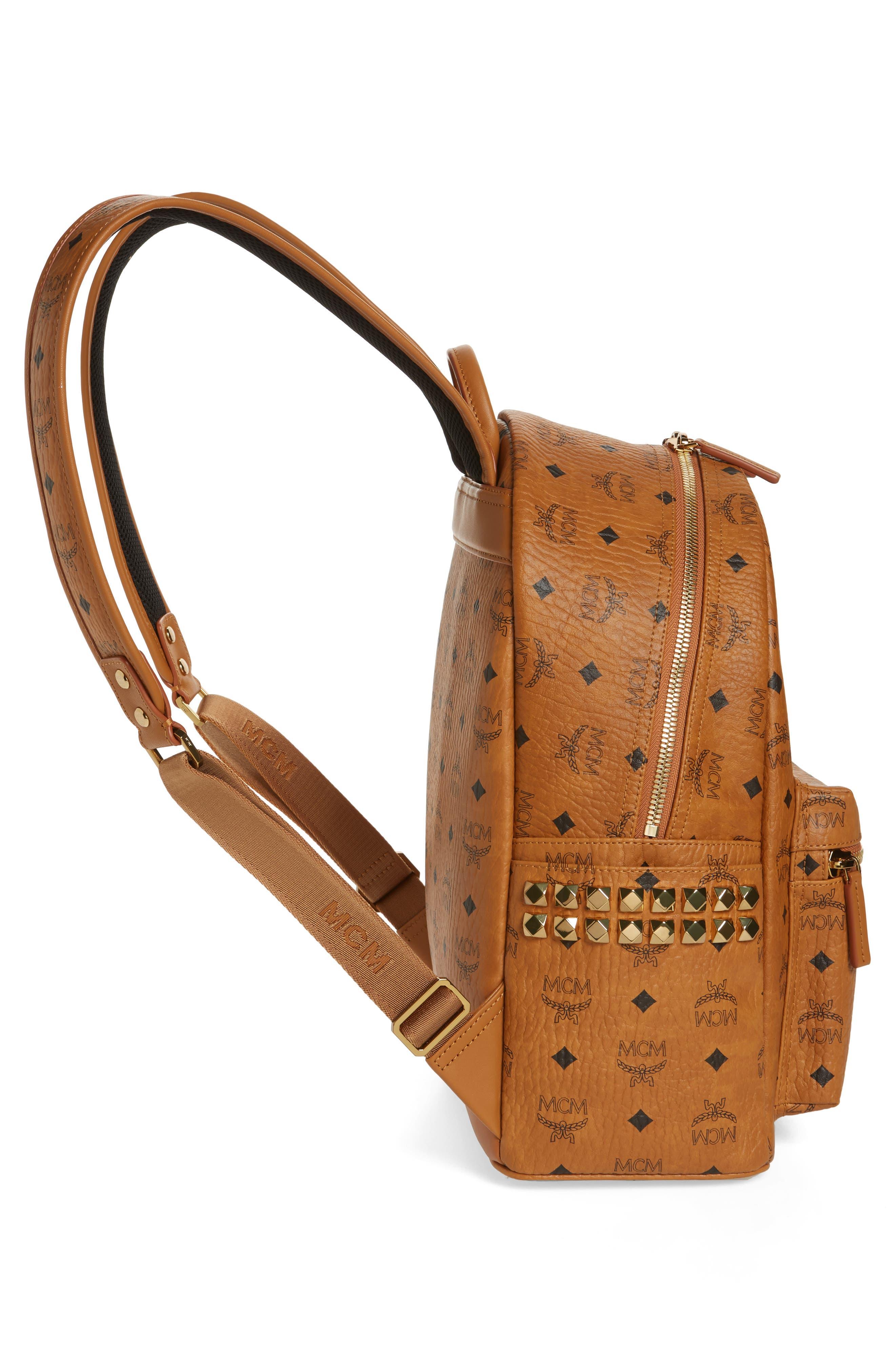 Medium Stark Side Stud Coated Canvas Backpack,                             Alternate thumbnail 5, color,                             Cognac