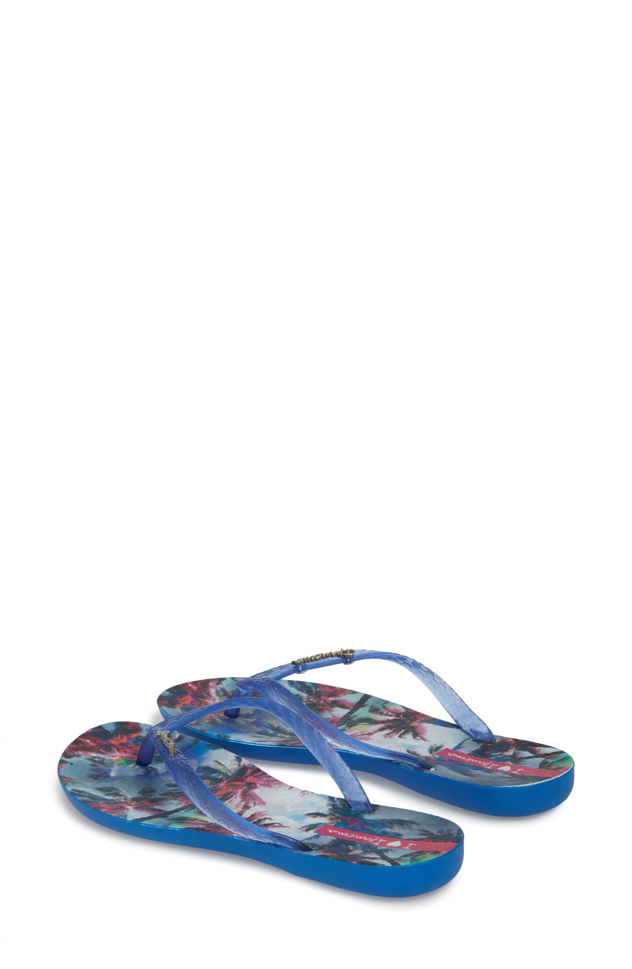 Wave Vista Print Flip-Flop,                             Alternate thumbnail 3, color,                             Blue