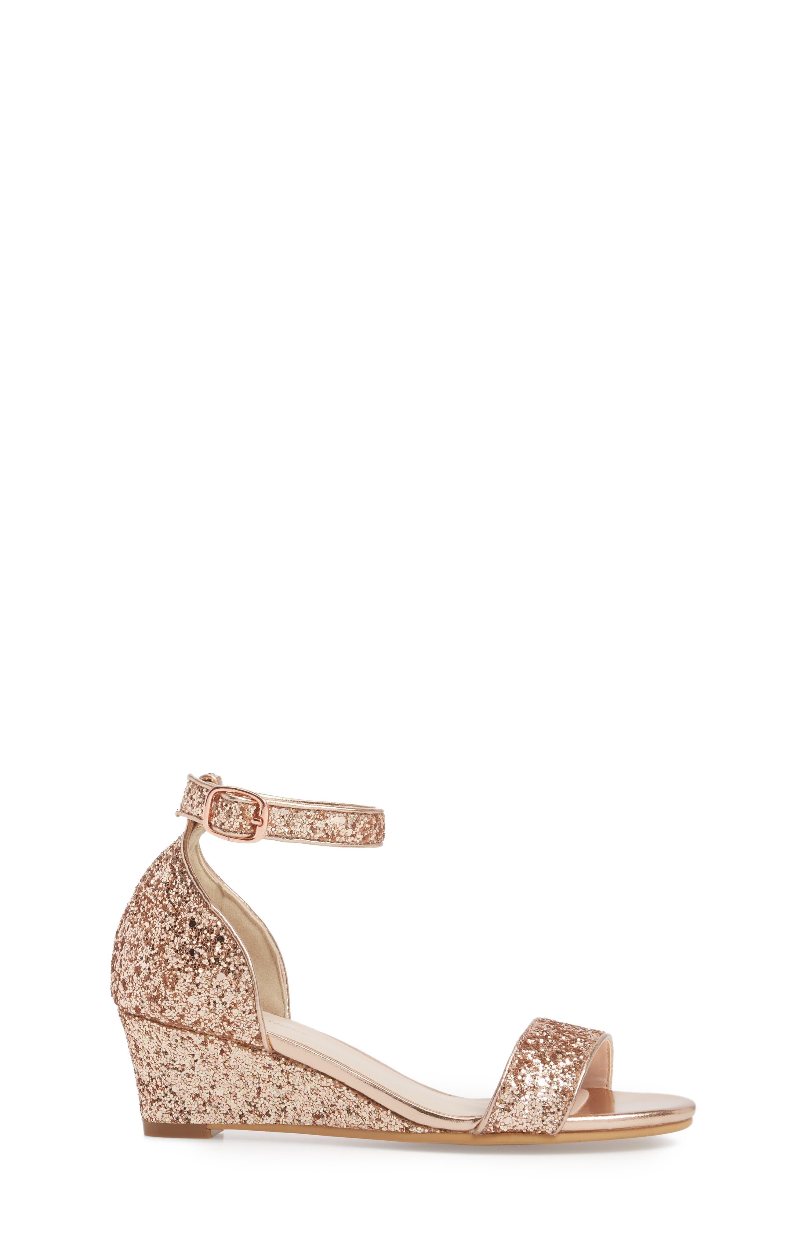 Remi Wedge Sandal,                             Alternate thumbnail 3, color,                             Rose Gold Glitter