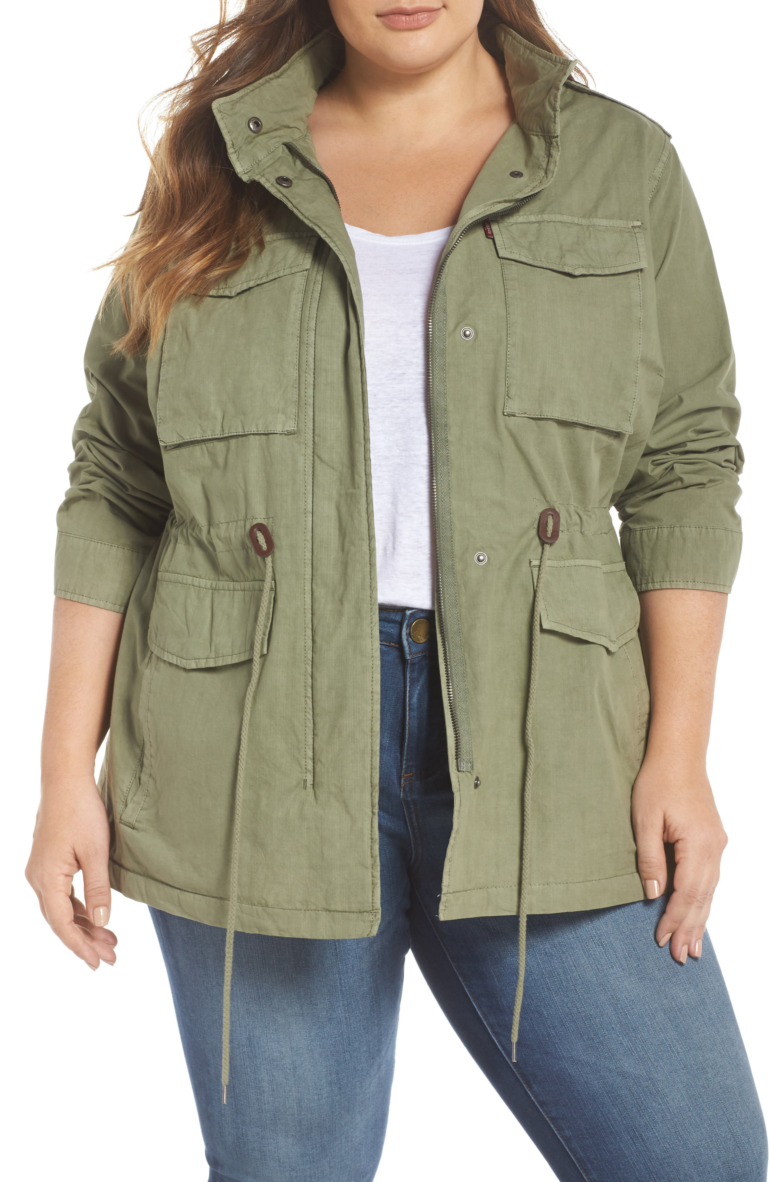 Cotton Military Jacket,                         Main,                         color, Light Green