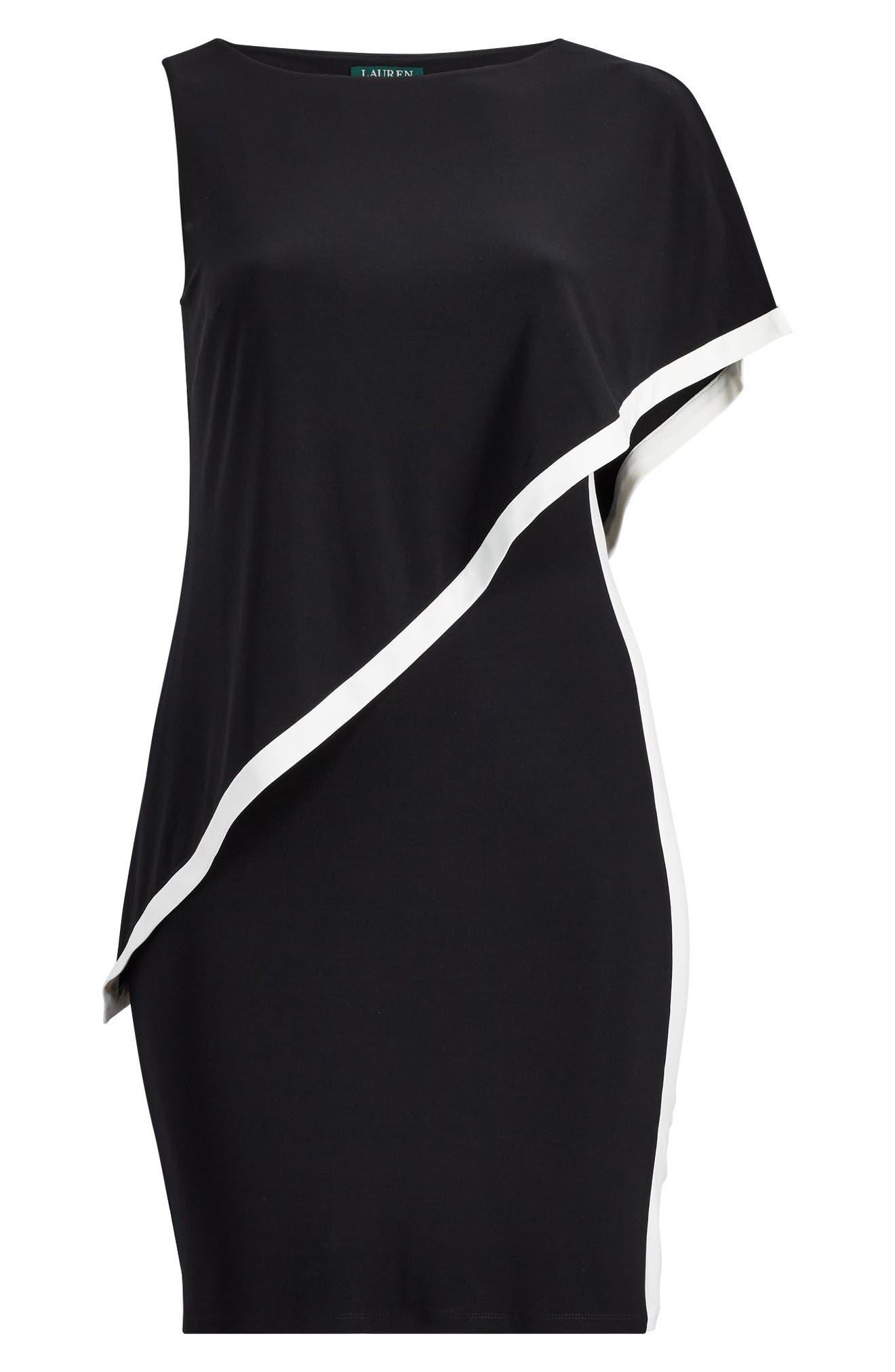 Cape Overlay Sheath Dress,                             Alternate thumbnail 3, color,                             Black-Lauren White