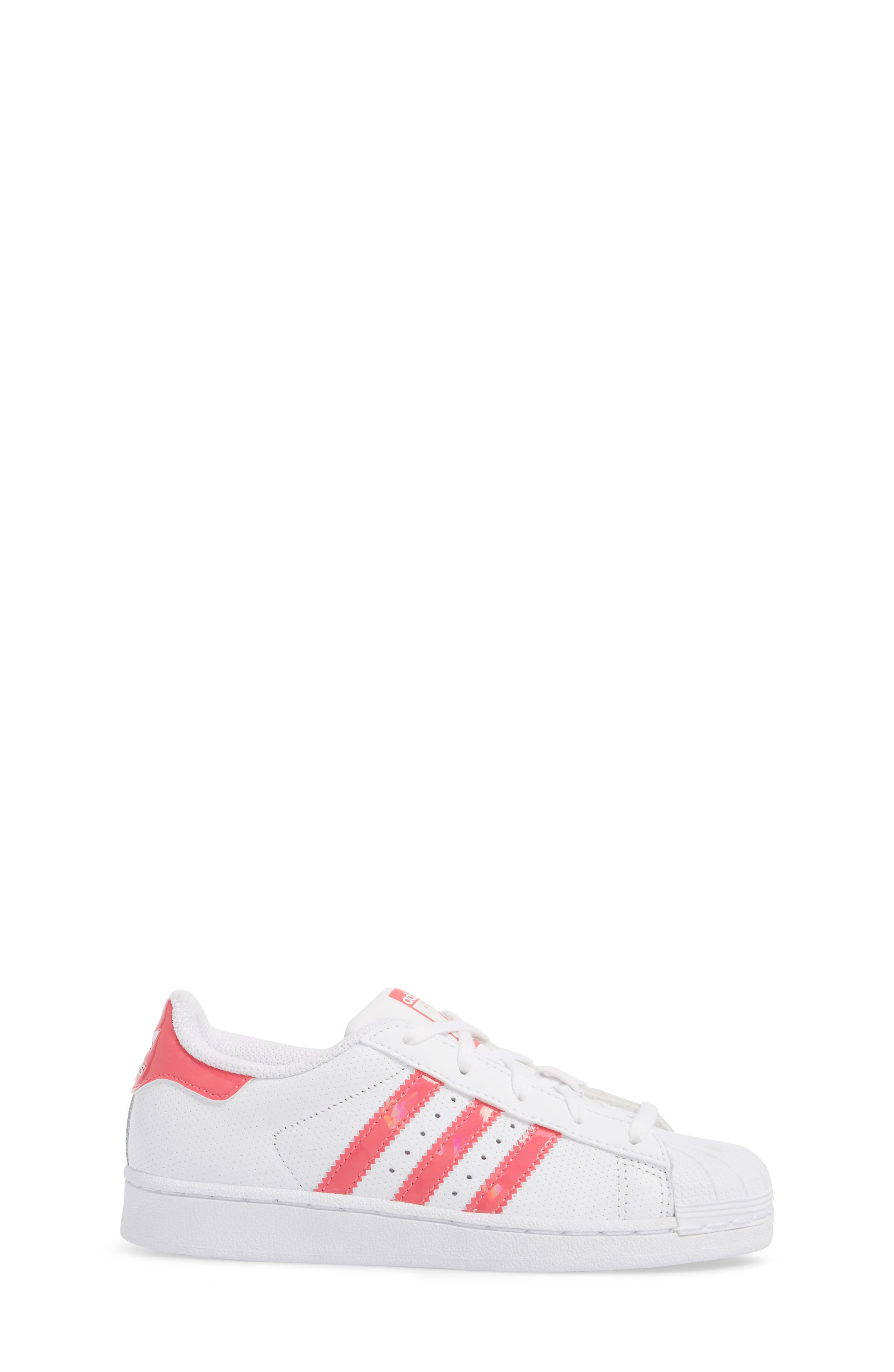 Superstar Perforated Low Top Sneaker,                             Alternate thumbnail 3, color,                             White / Real Pink / White